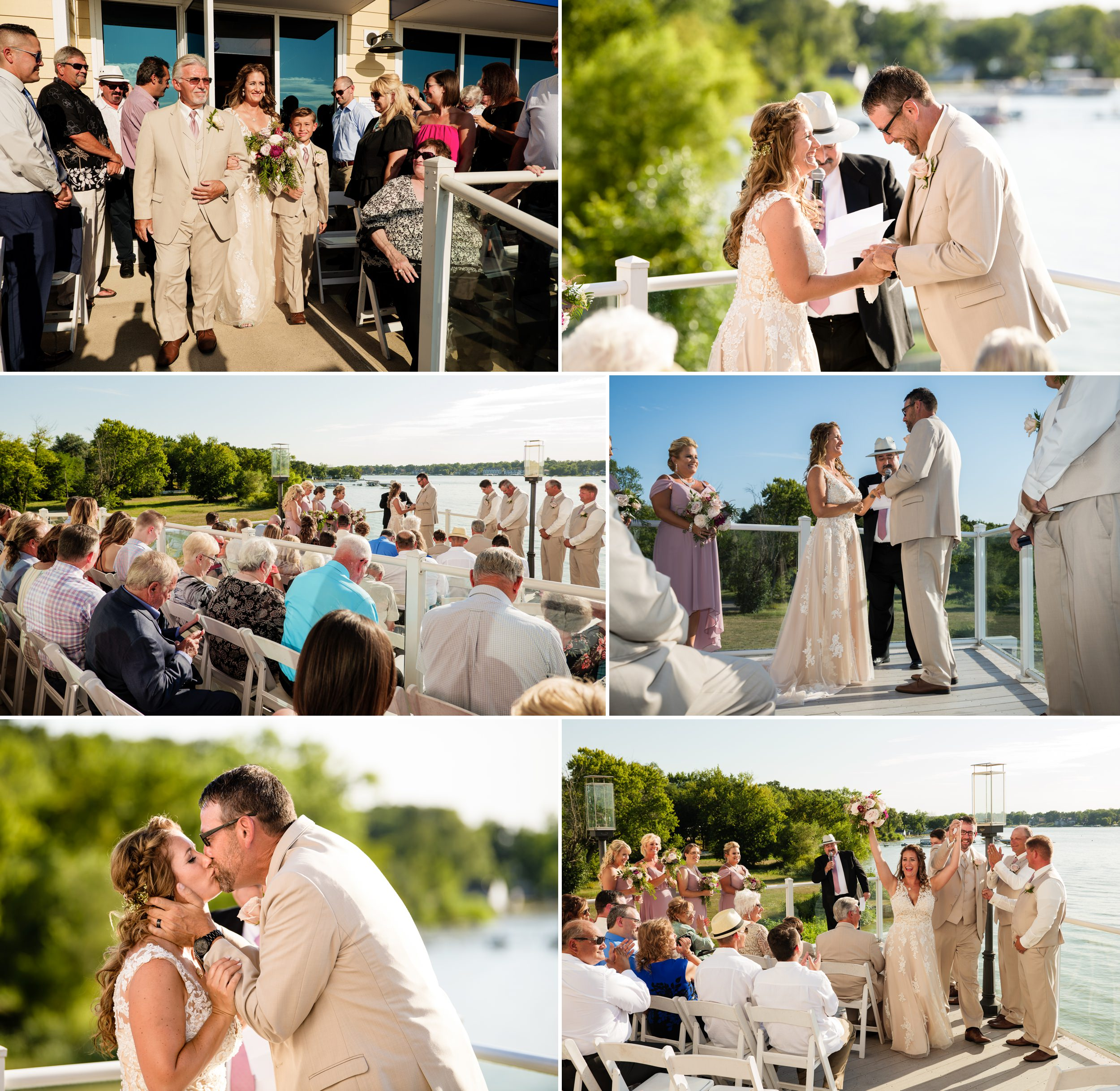 Summer wedding ceremony on the outdoor deck of Lighthouse Restaurant.