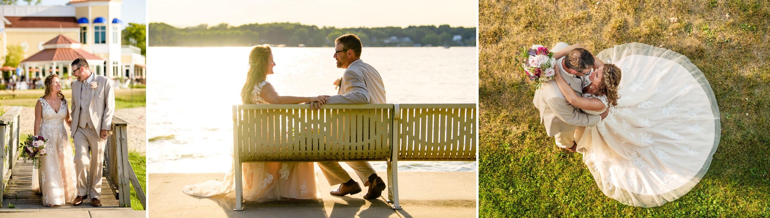 Romantic wedding photos along the lakefront at Cedar Lake.