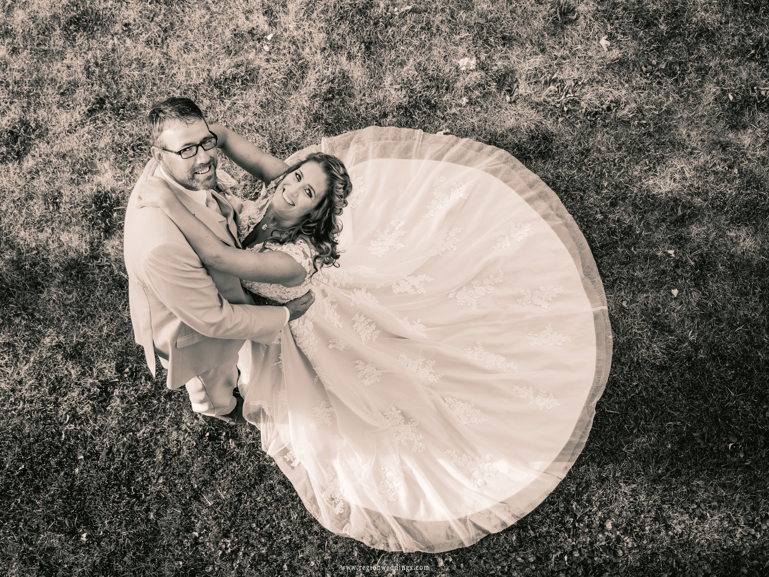 Vintage looking wedding photo of the bride and groom.