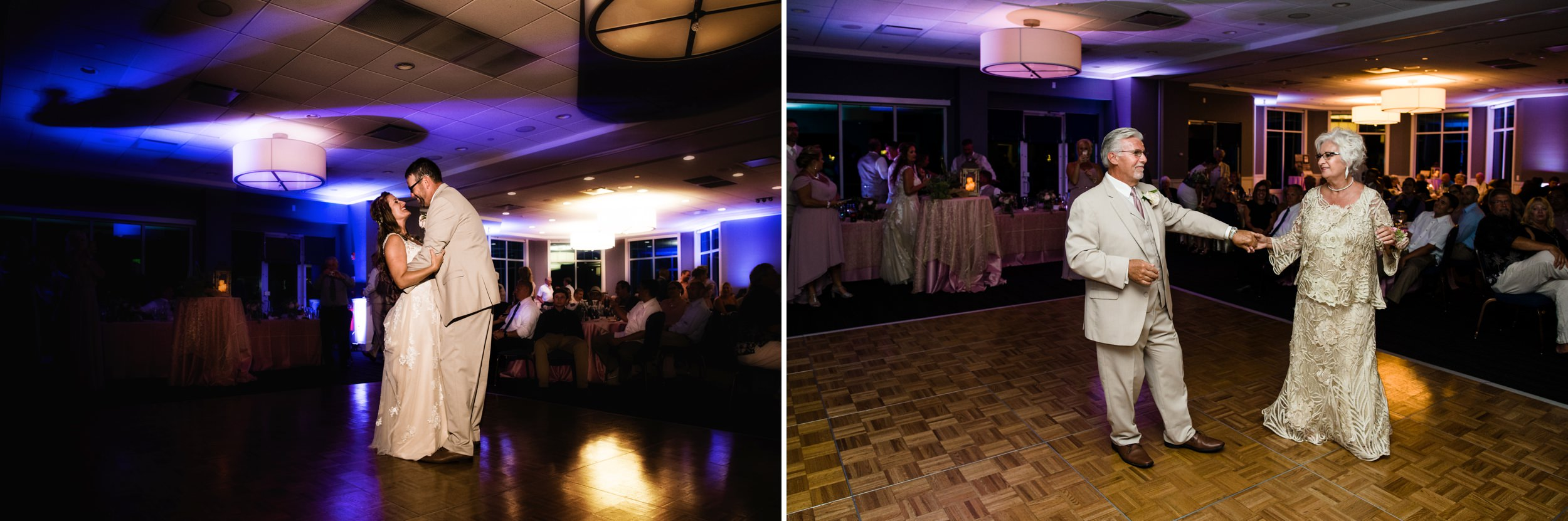 First dances for the bride and groom and the 50th Anniversary couple.