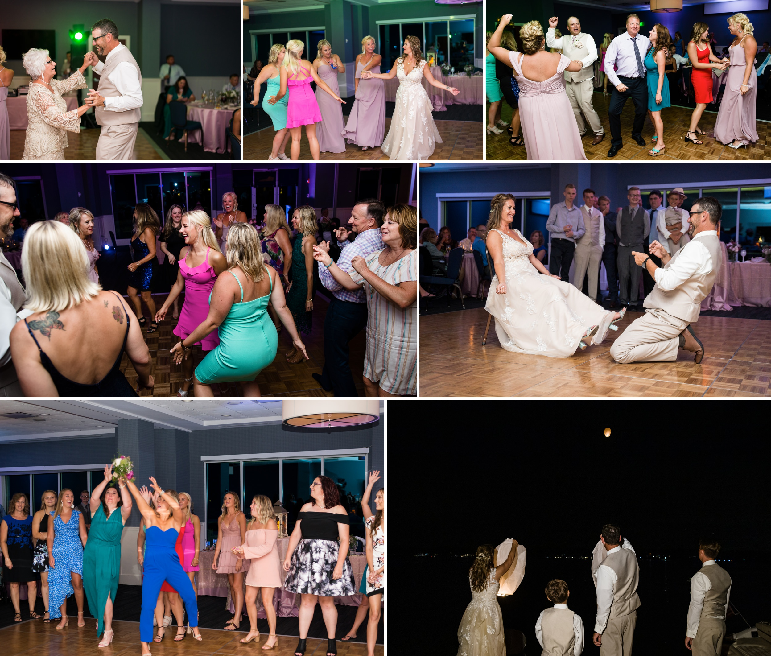 Dance floor fun at Lighthouse Restaurant during a summer wedding reception.