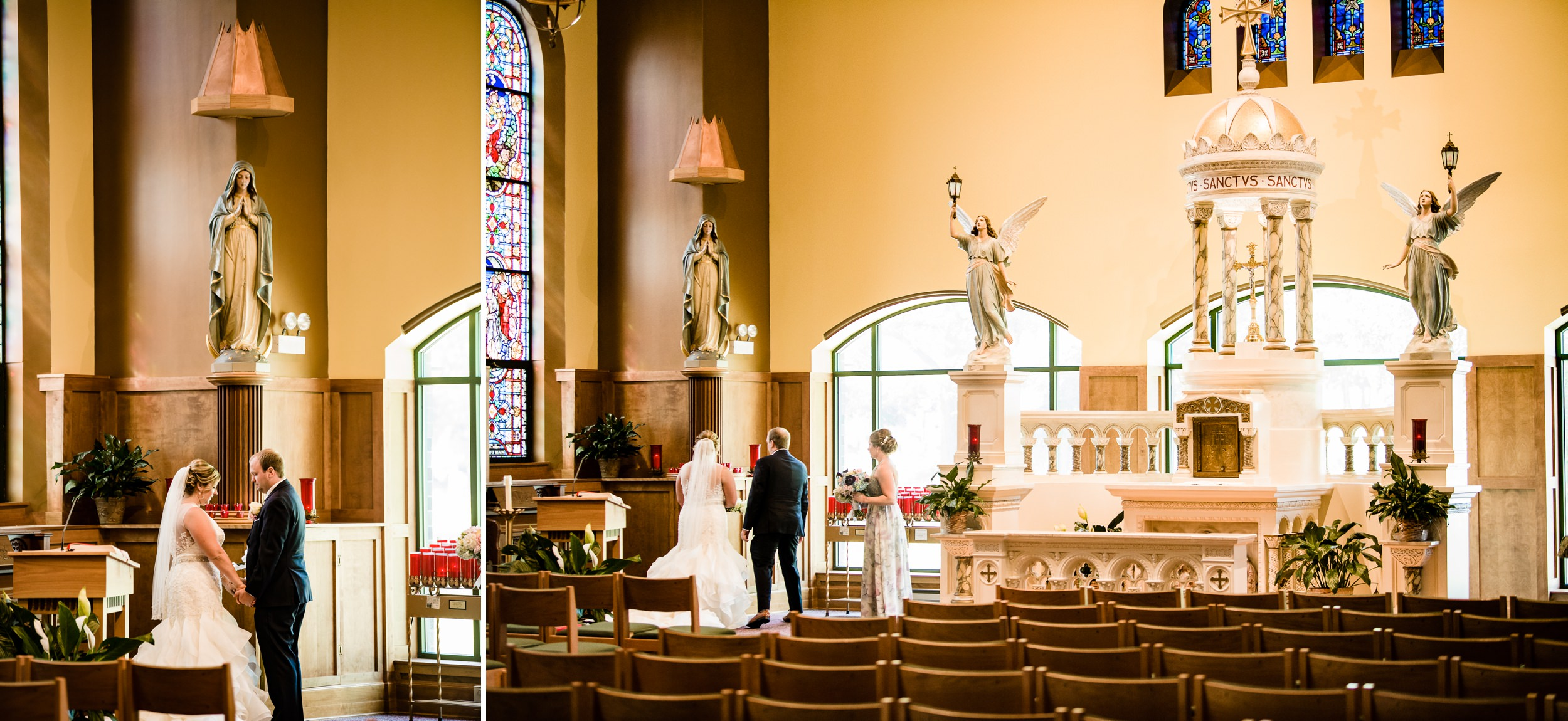 Bride and groom inside the sanctuary at St. Michael's Parish.