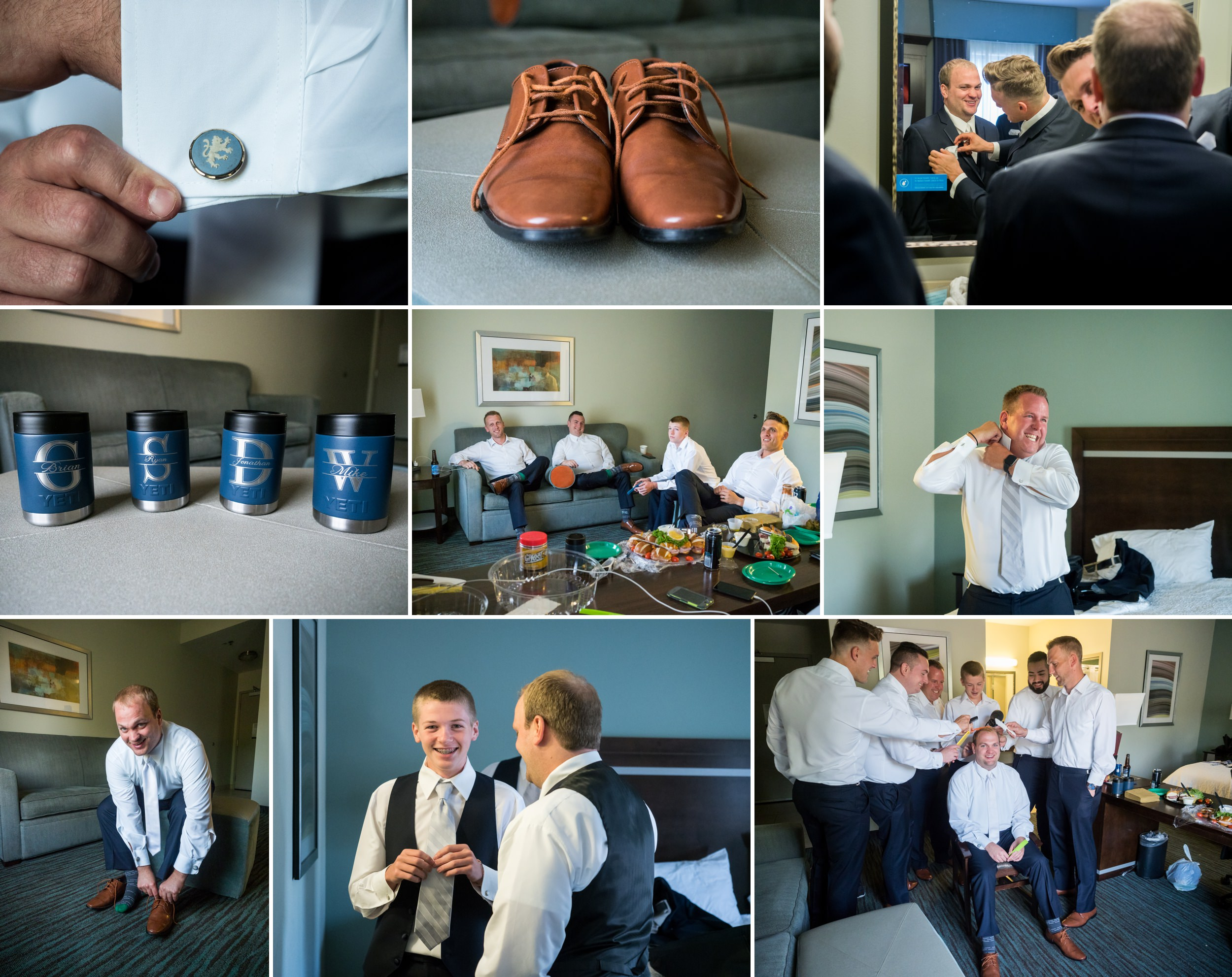 Groomsmen prep for an August wedding.