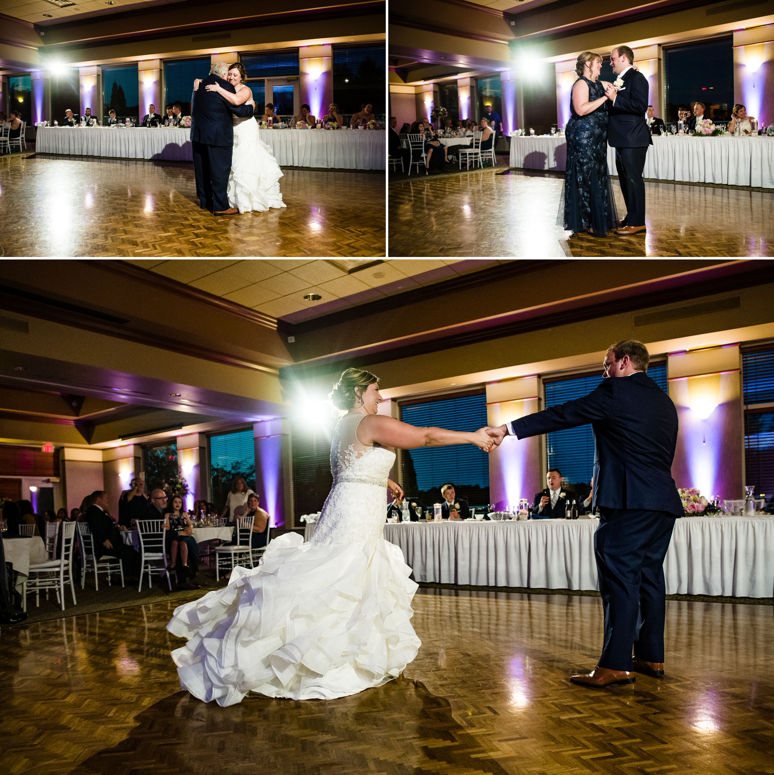 First dances during an August wedding at Sand Creek Country Club.