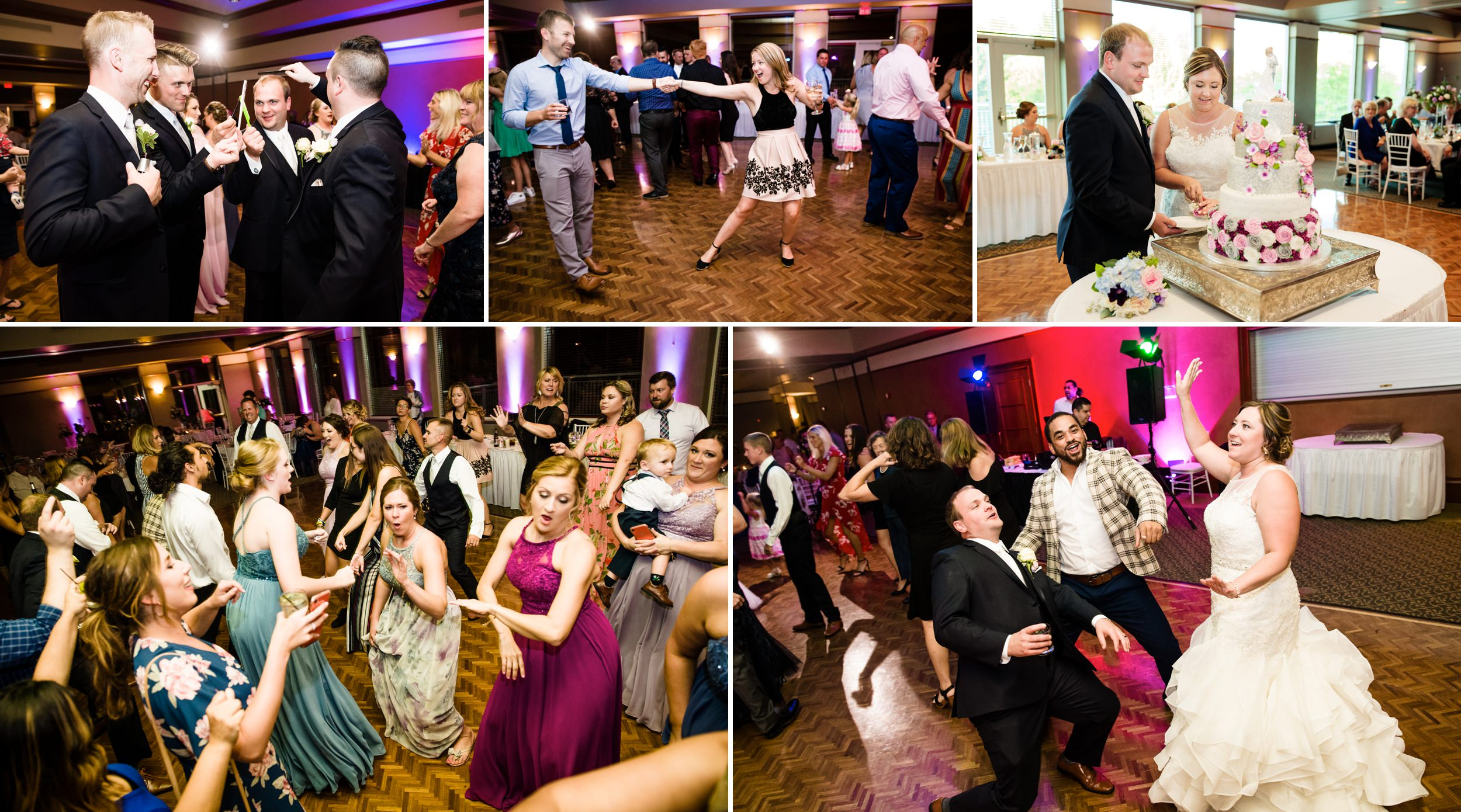 Wedding reception fun inside the ballroom at Sand Creek Country Club wedding venue.