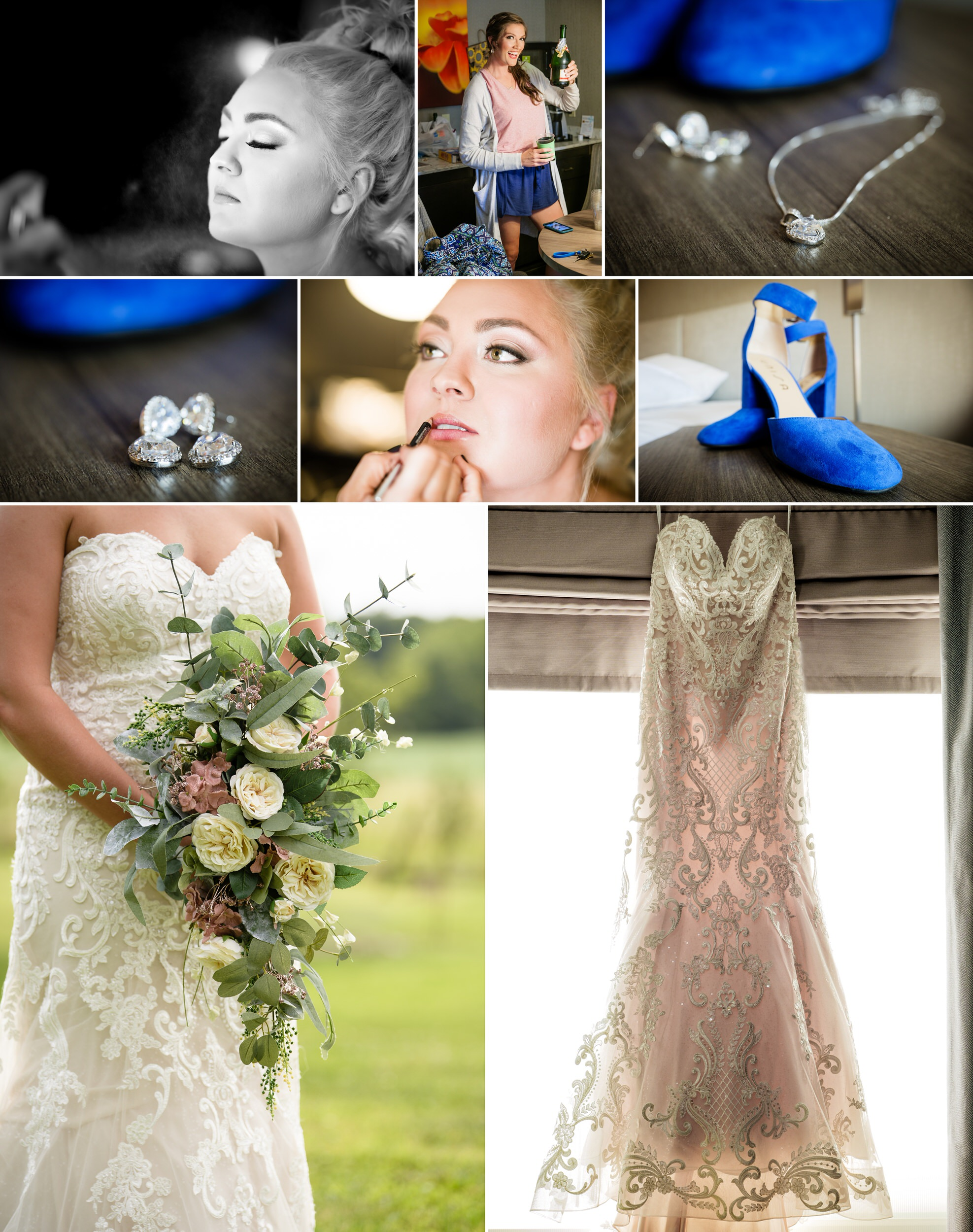 Bridal details for a wedding at Four Corners Winery.