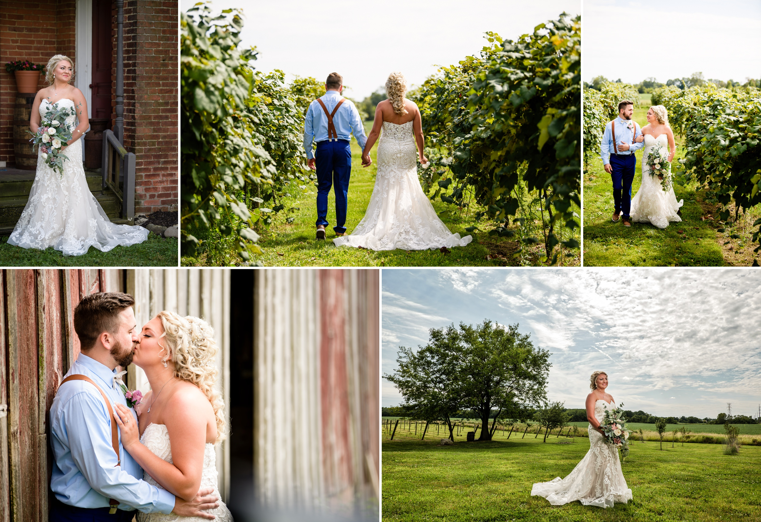 Wedding photos at Four Corners Winery in Valparaiso, Indiana.