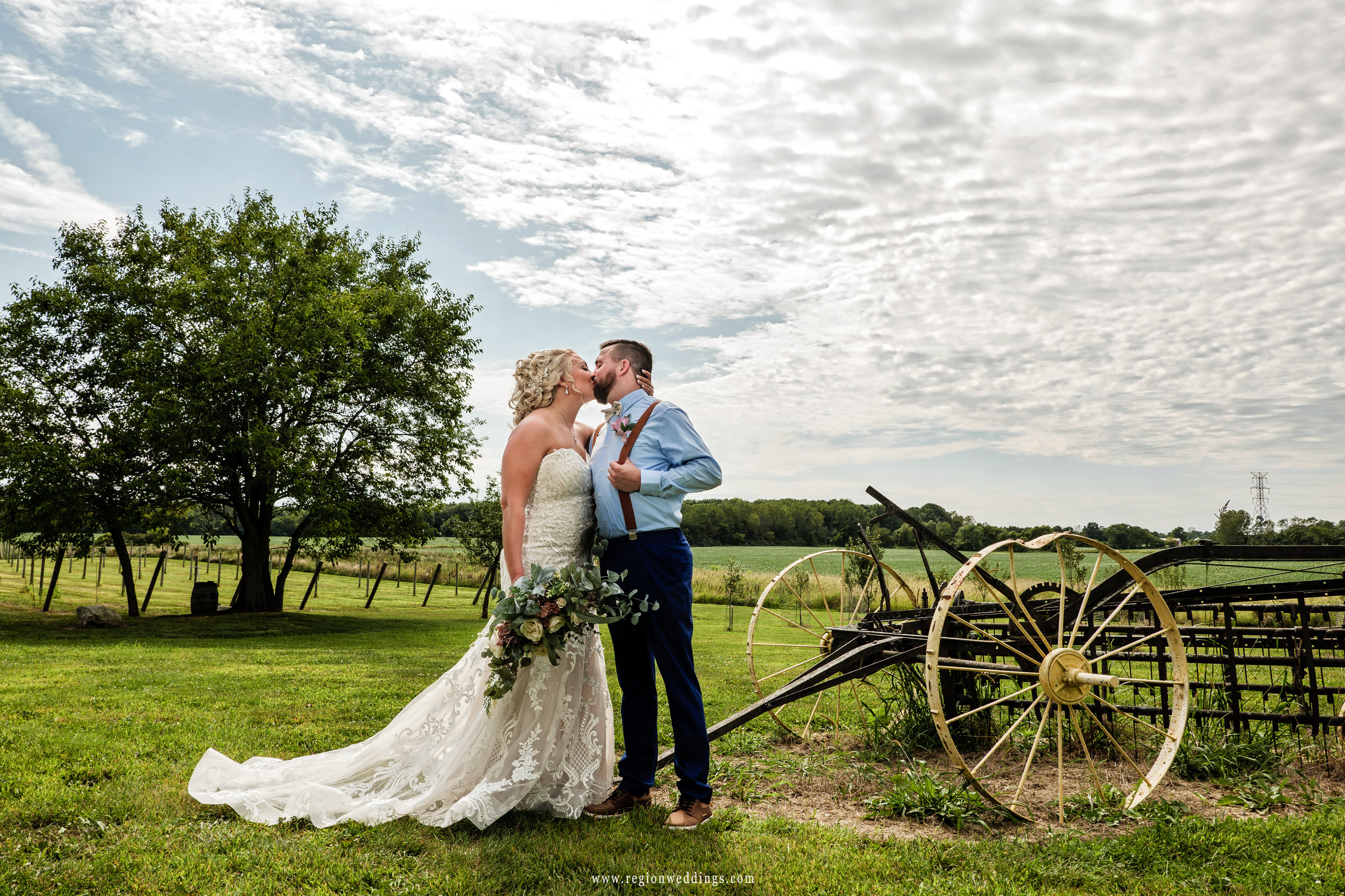Bride and groom share a kiss with Indiana farmland behind them.