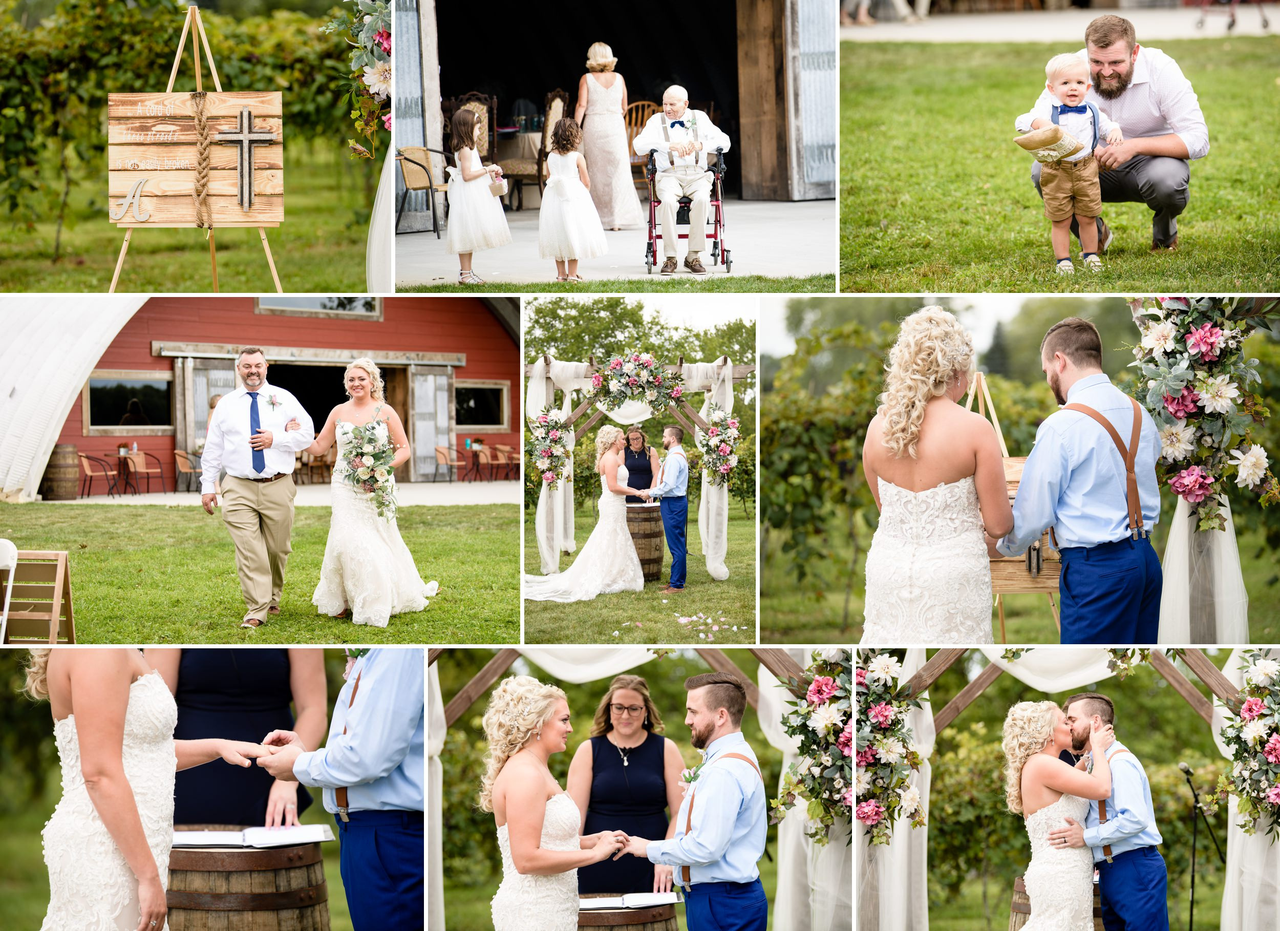 Outdoor wedding ceremony at Four Corners Winery in Valparaiso, Indiana.