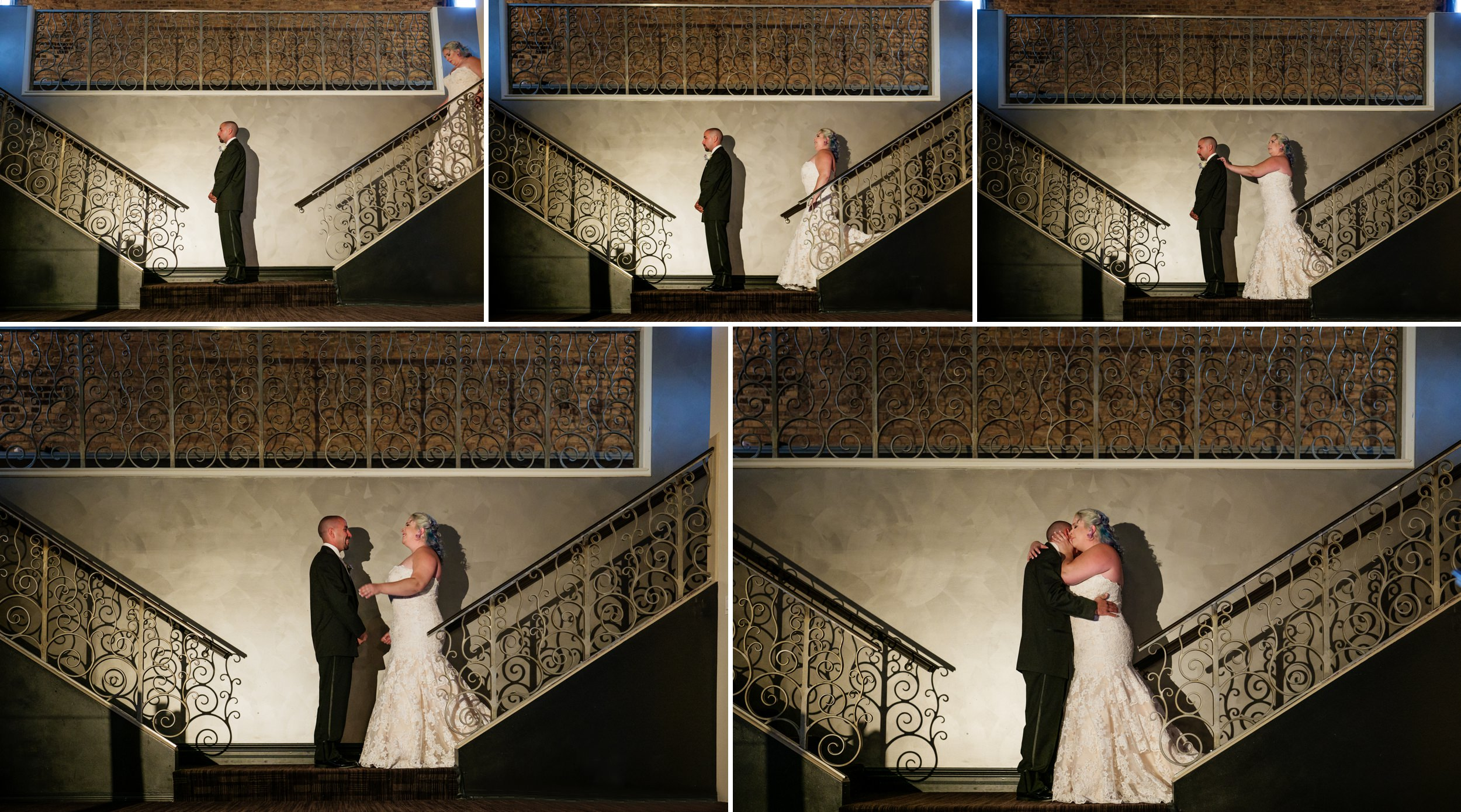 First look for the bride and groom at the stairs of the balcony at The Allure.