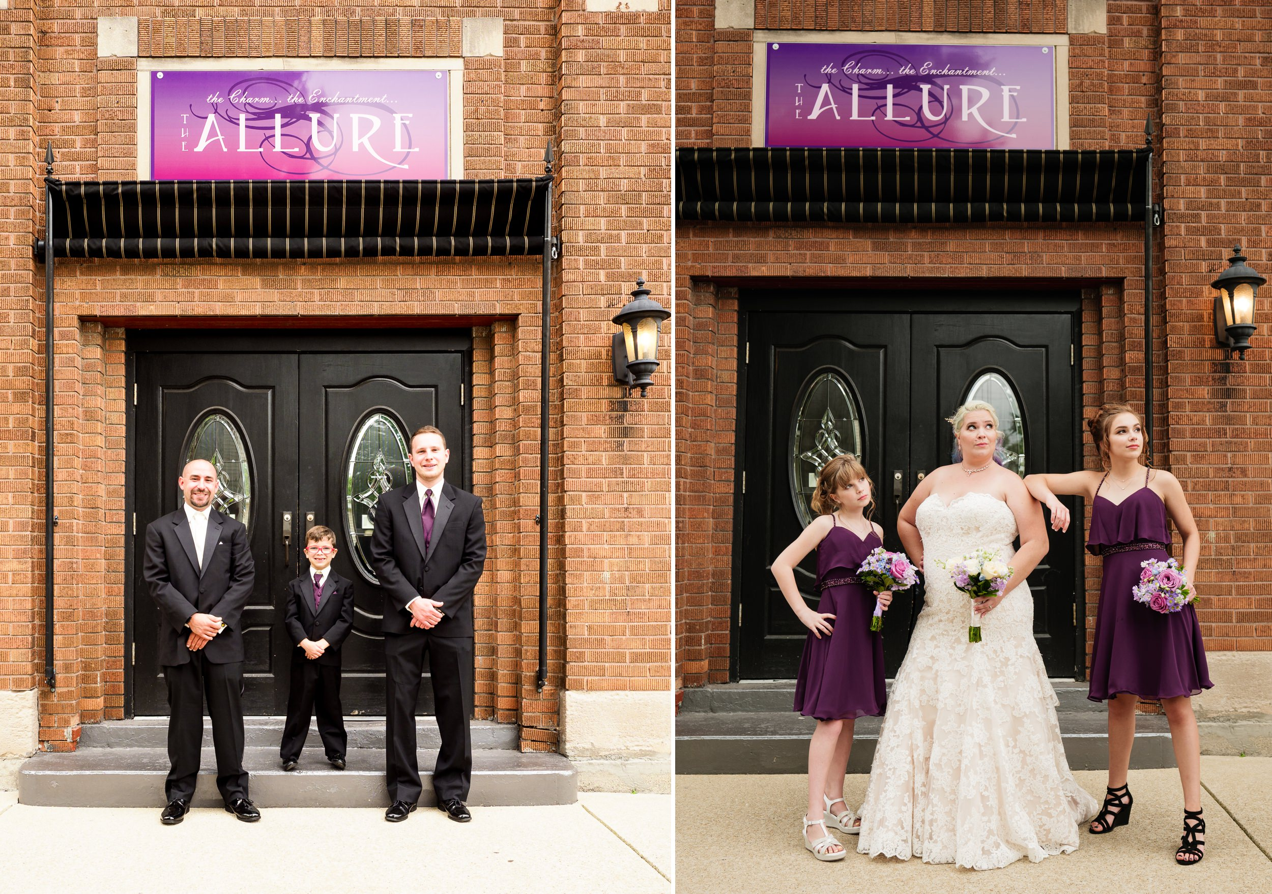 Groomsmen and bridesmaids outside The Allure in Laporte.