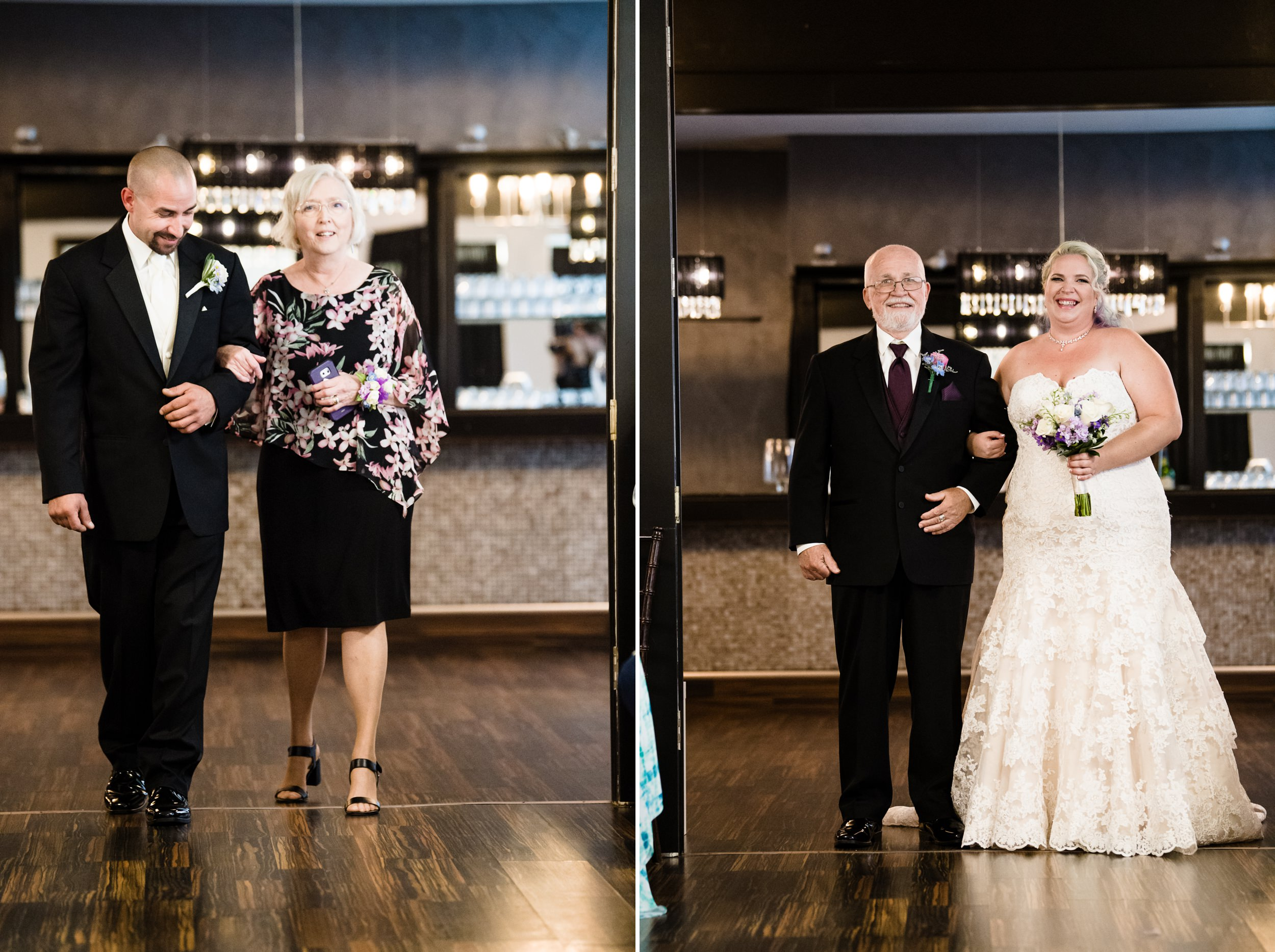 The bride and groom are all smiles as they enter the ceremony area at The Allure.