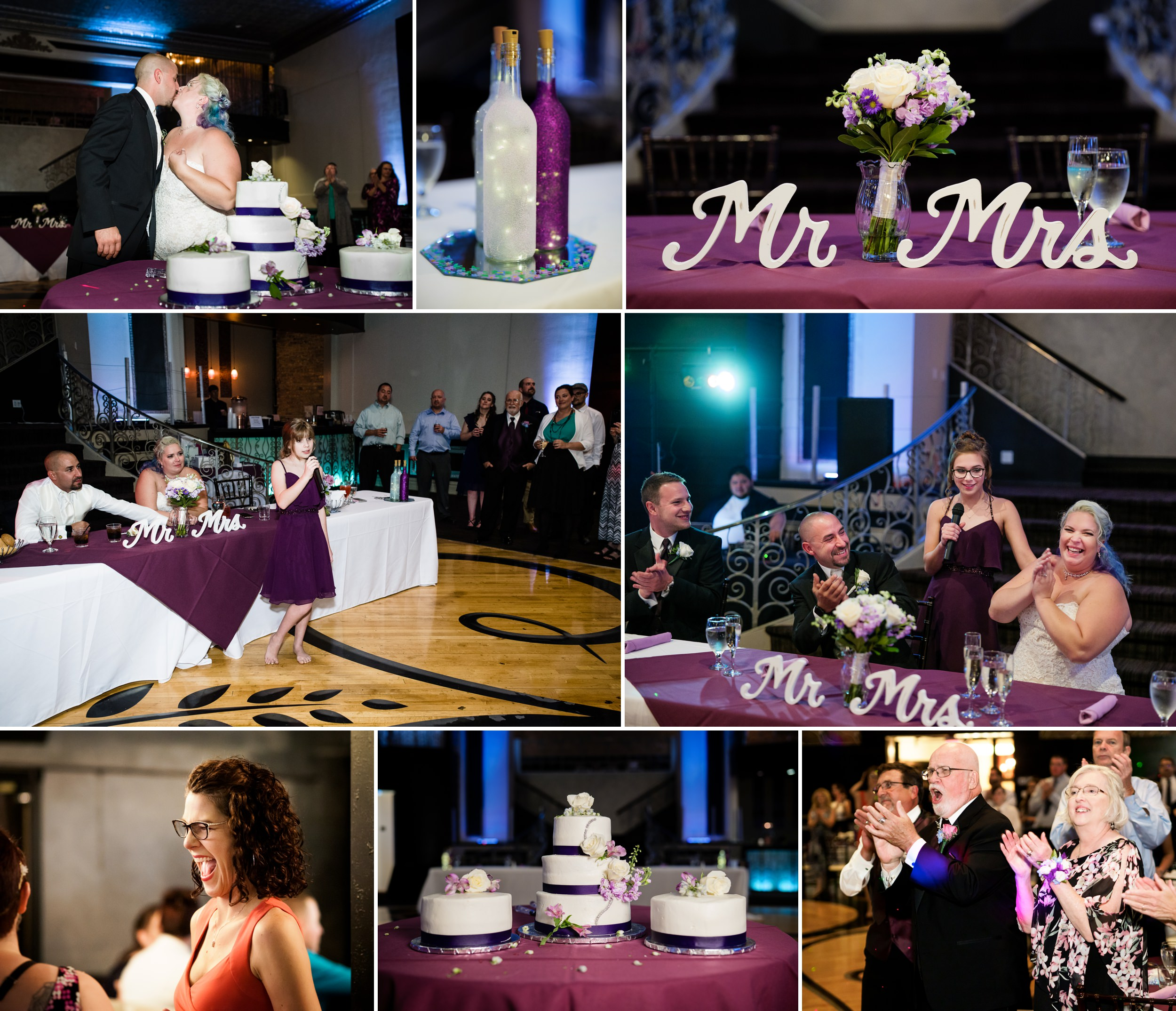A wedding reception decorated in the color purple at The Allure.