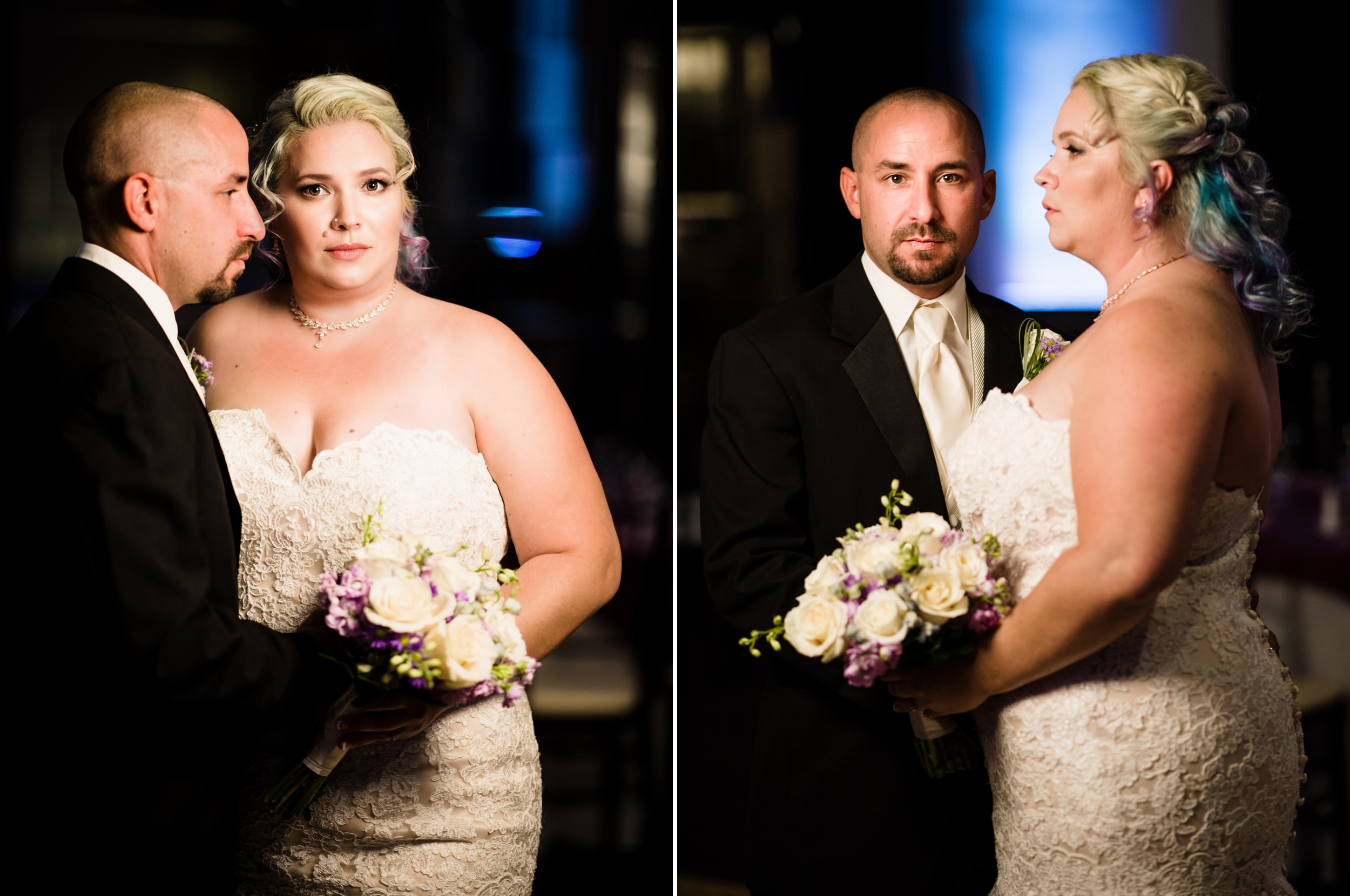 Bride and groom giving that fashion model look on The Allure ballroom.