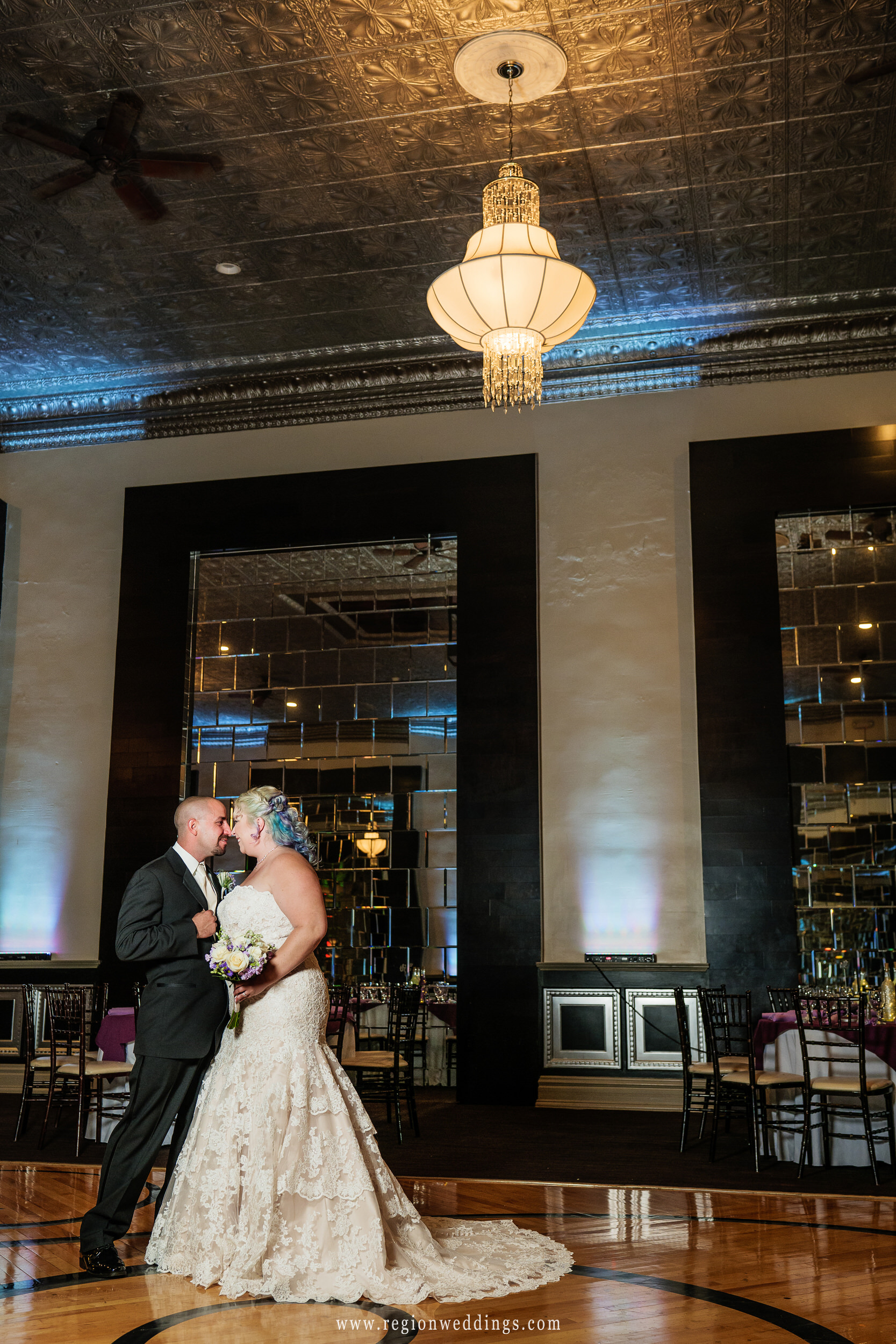 Nose to nose on the dance floor at The Allure in Laporte, Indiana at a September wedding.