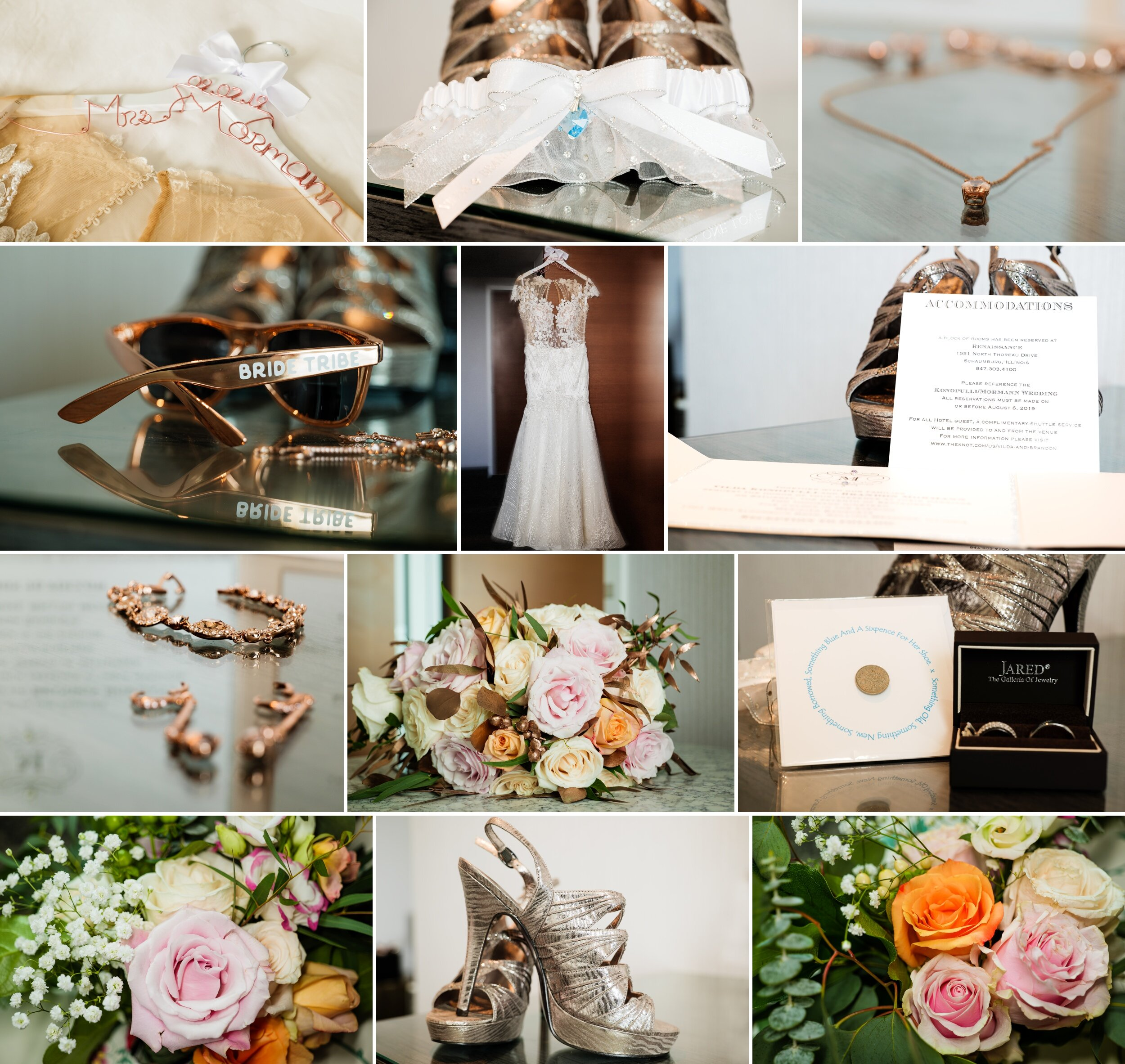 Bridal details at Renaissance Hotel on wedding day.