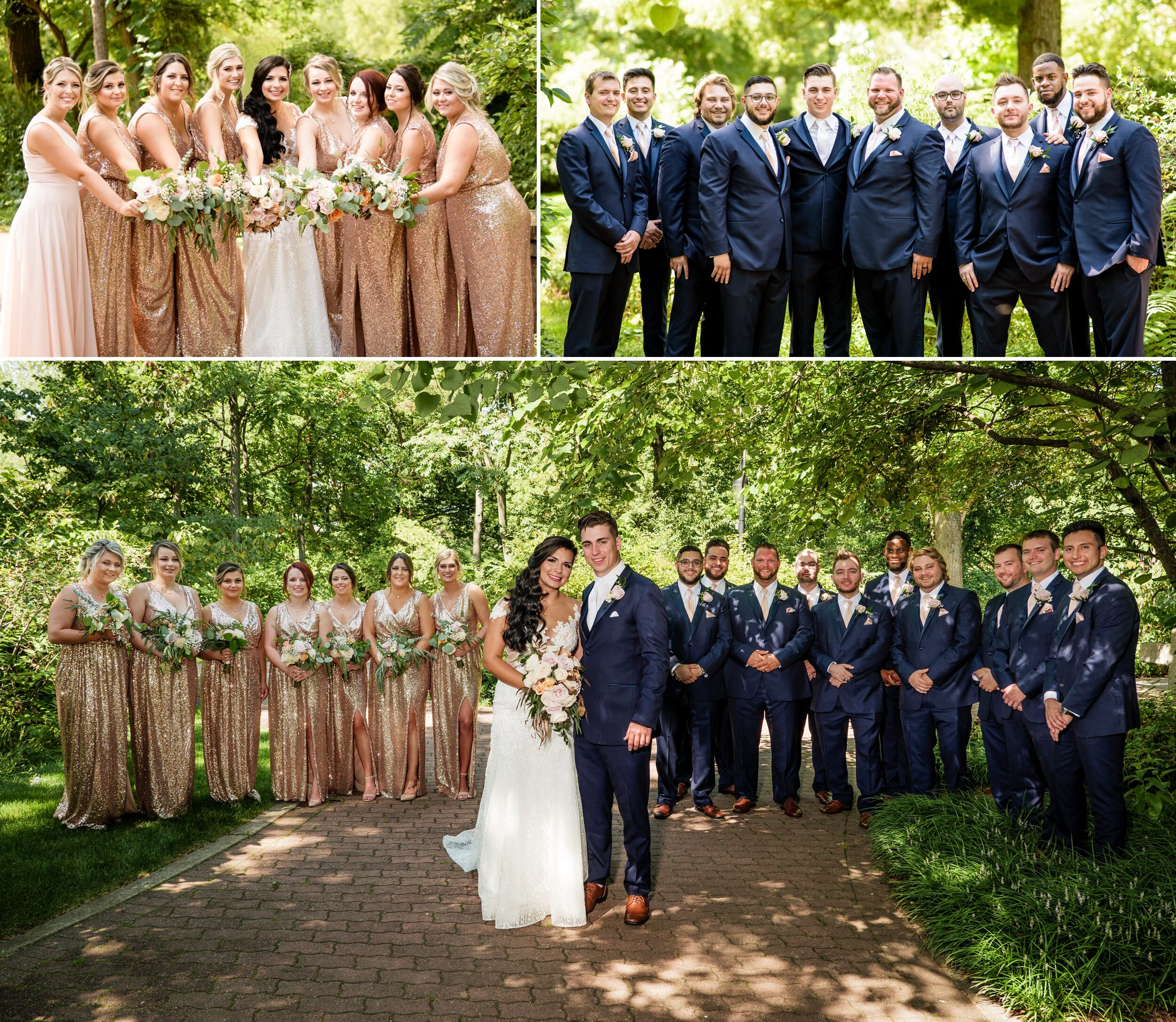 Wedding party group photos in Naperville, Illinois.