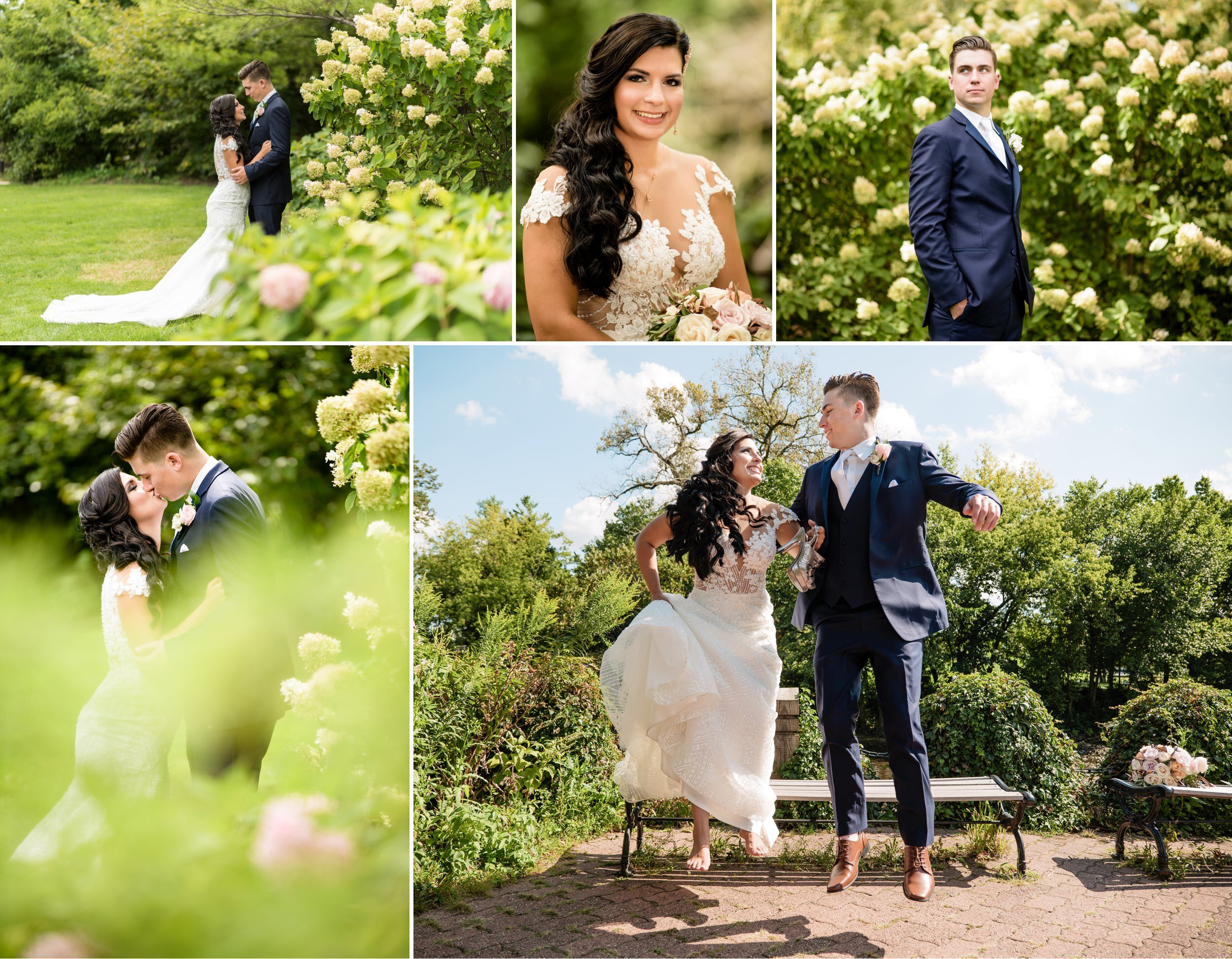 Beautiful and fun wedding photos on Naperville Riverwalk.
