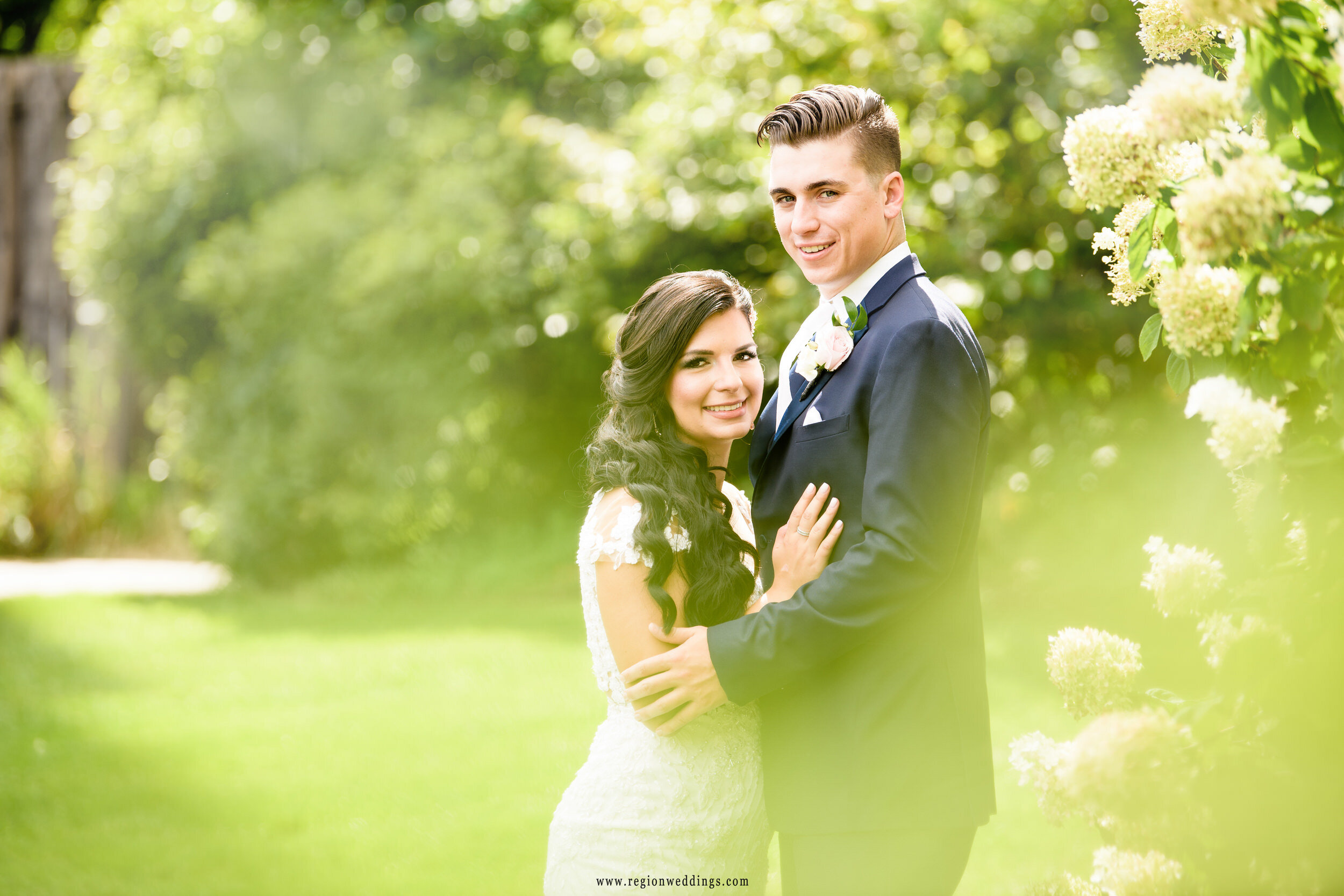 Bride and groom portrait on a gorgeous September day in Naperville, Illinois.