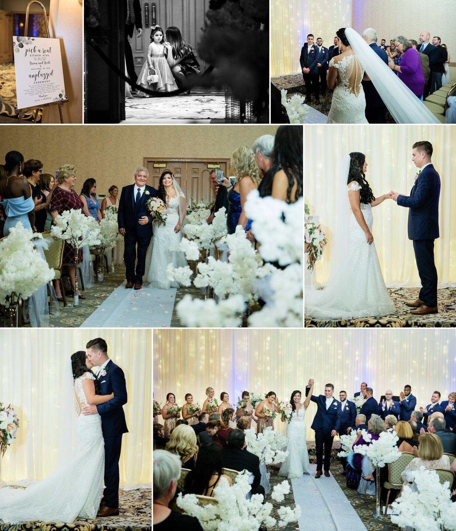 Wedding ceremony at Meridian Banquets and Conference Center in Rolling Meadows, Illinois.