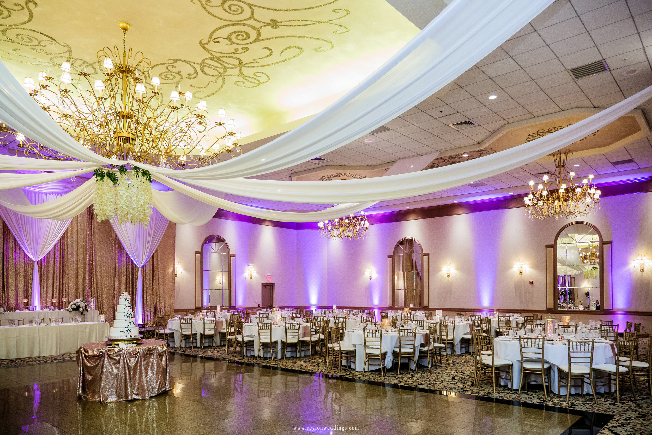The ballroom at Meridian Banquets and Conference Center in Rolling Meadows, Illinois.