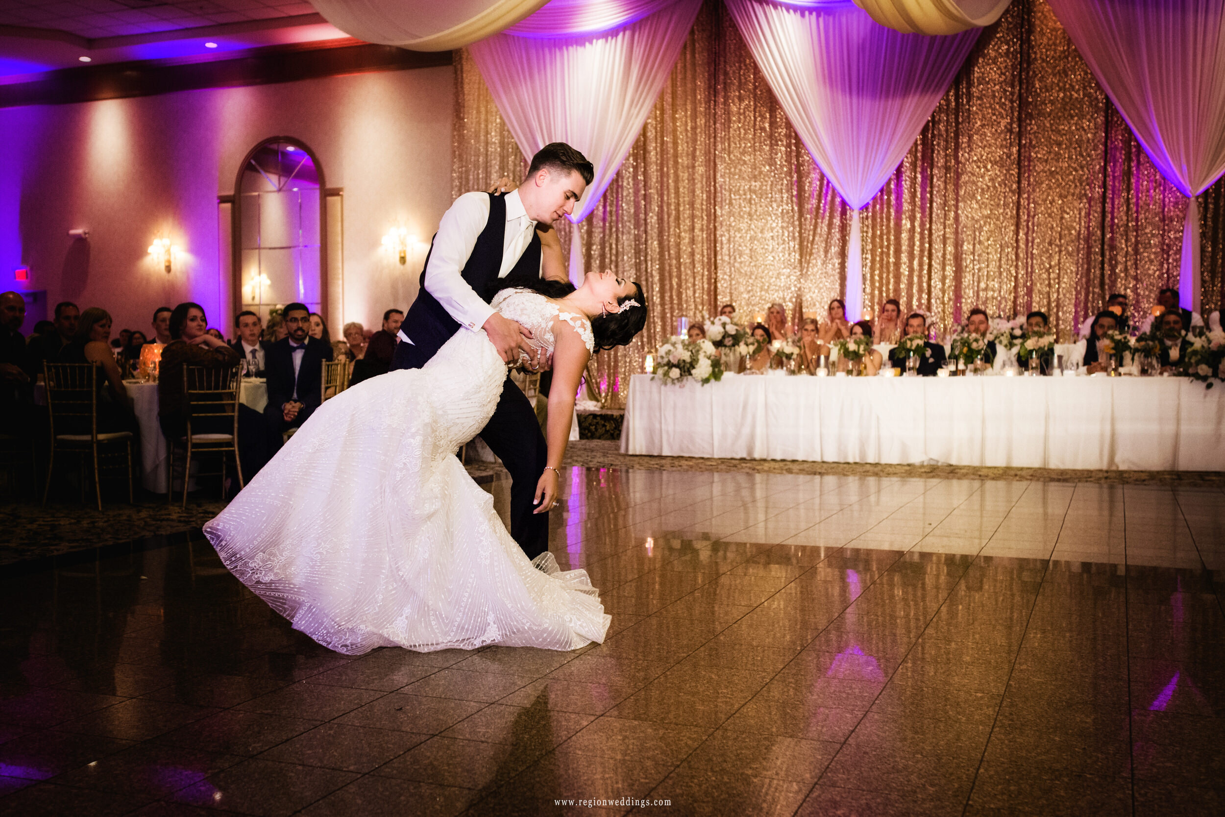 First dance for the bride and groom at Meridian Banquets in Rolling Meadows.