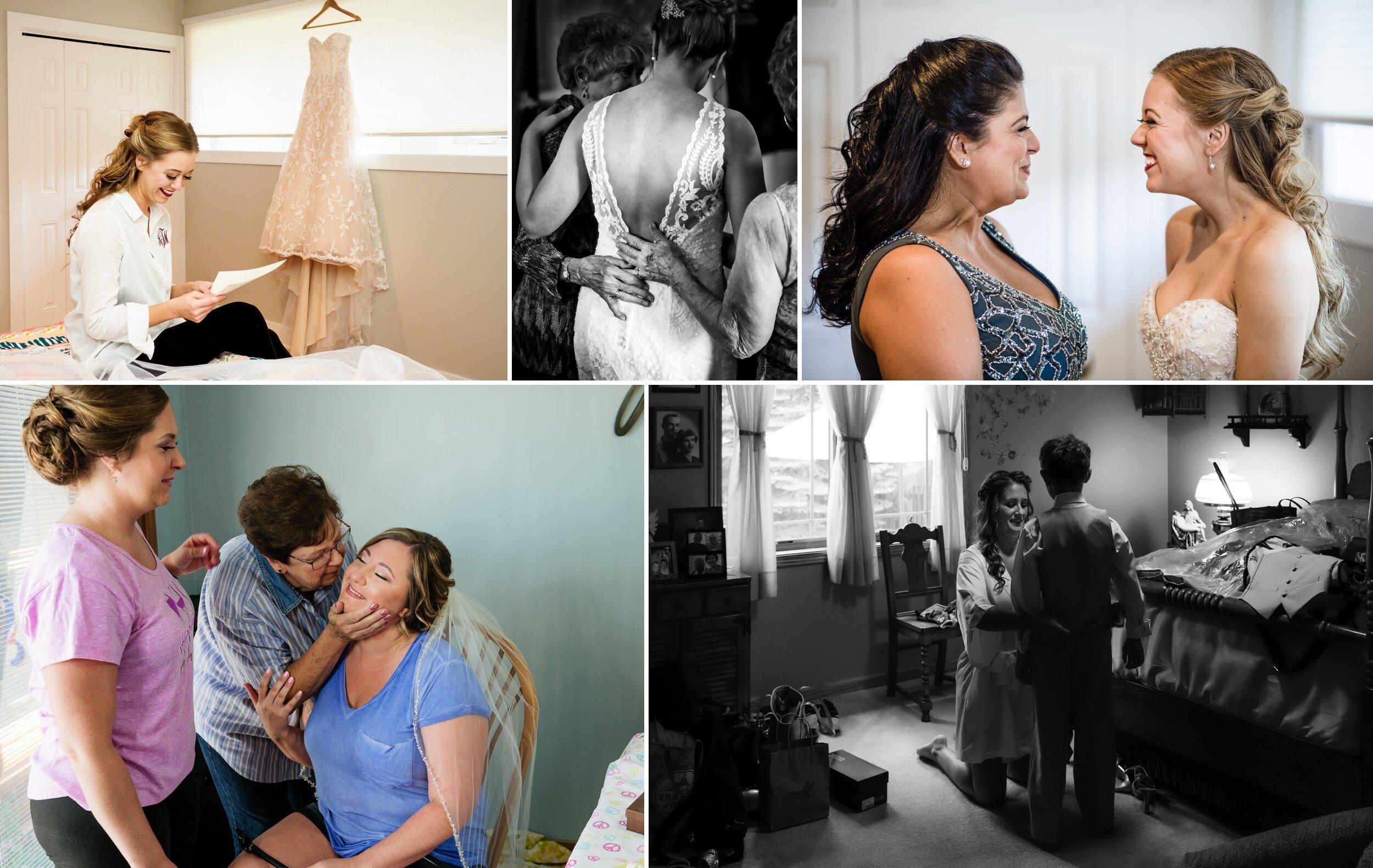 Wedding moments during bridal prep.