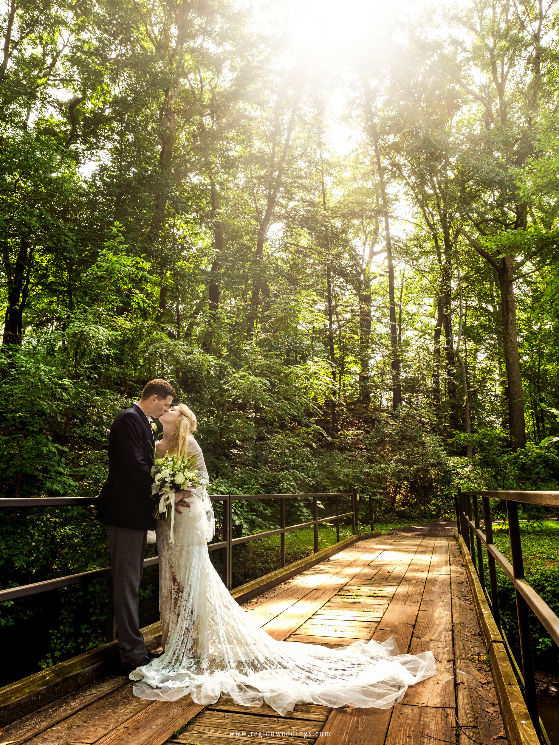 The sun shines down upon the bride and groom at Friendship Garden on their wedding day.