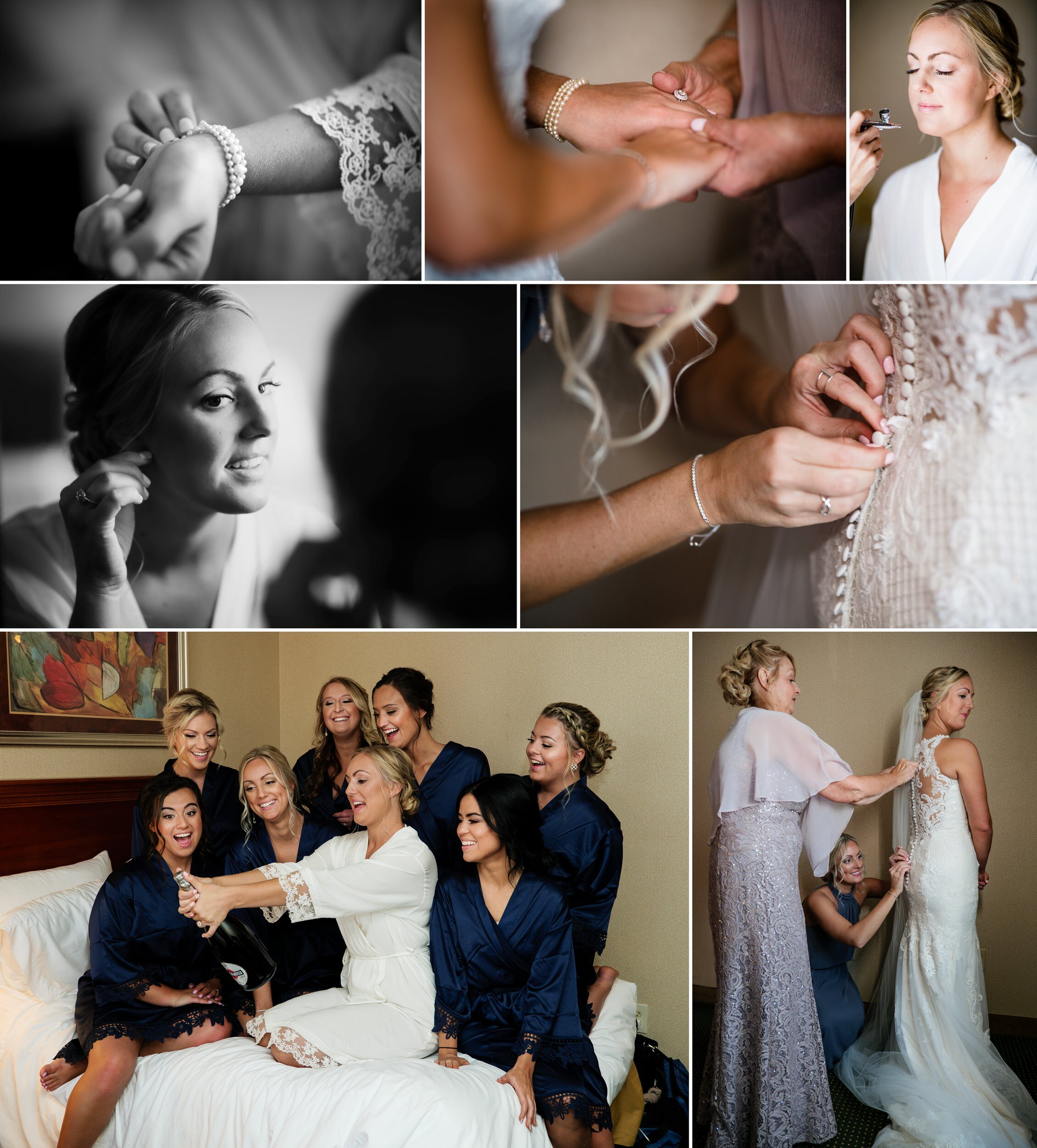 Bridal prep for a wedding at Aberdeen Manor Chapel.