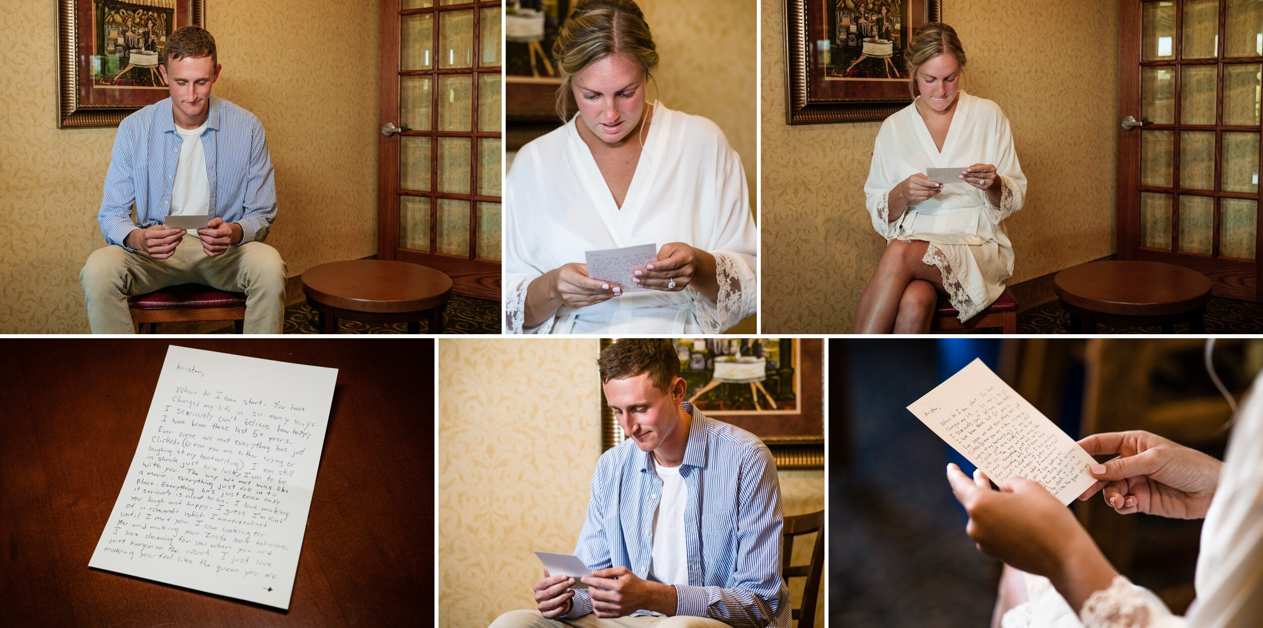 Bride and groom read each other's love letters on wedding day.