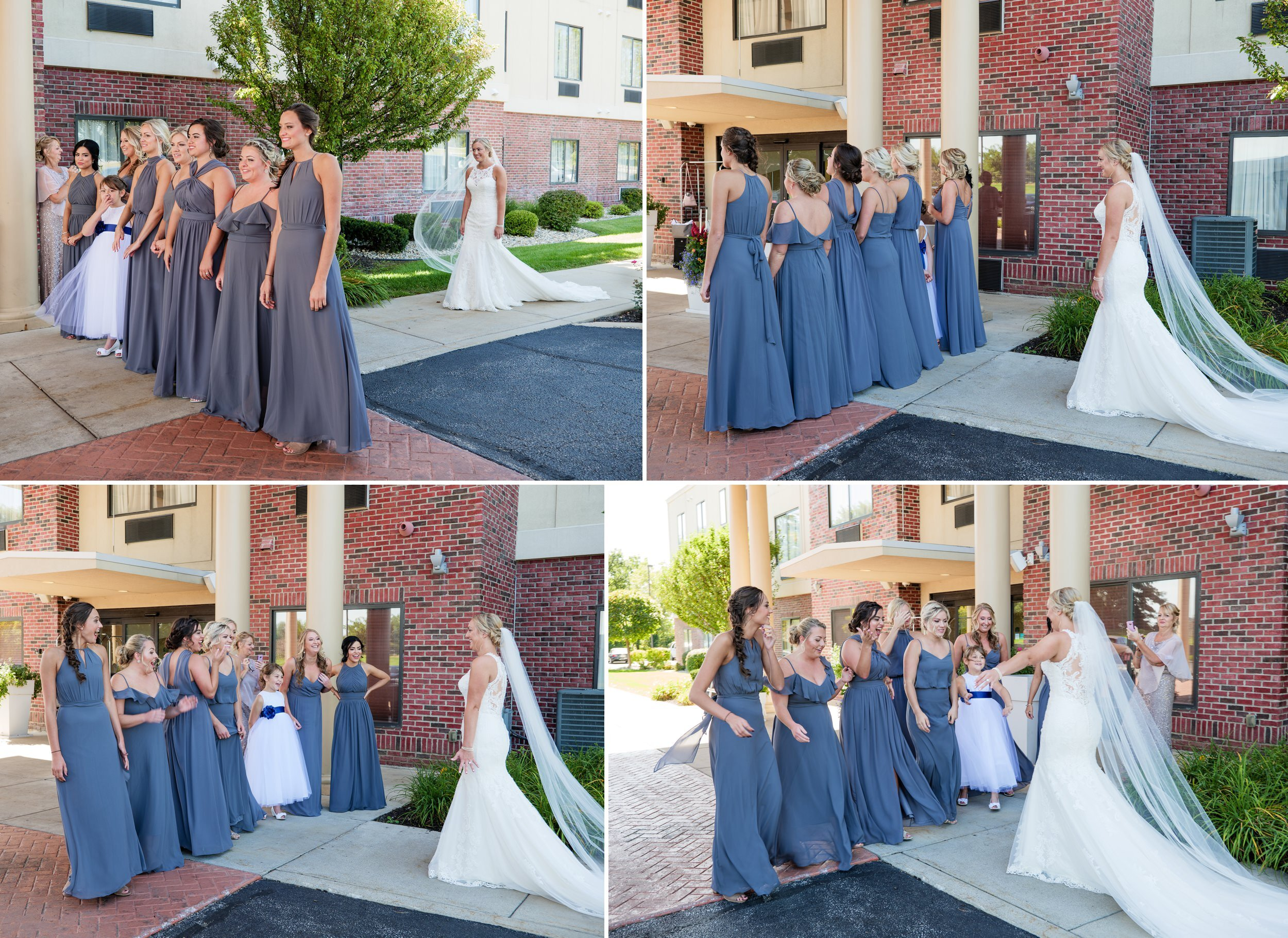 The dress reveal with the bridesmaids.