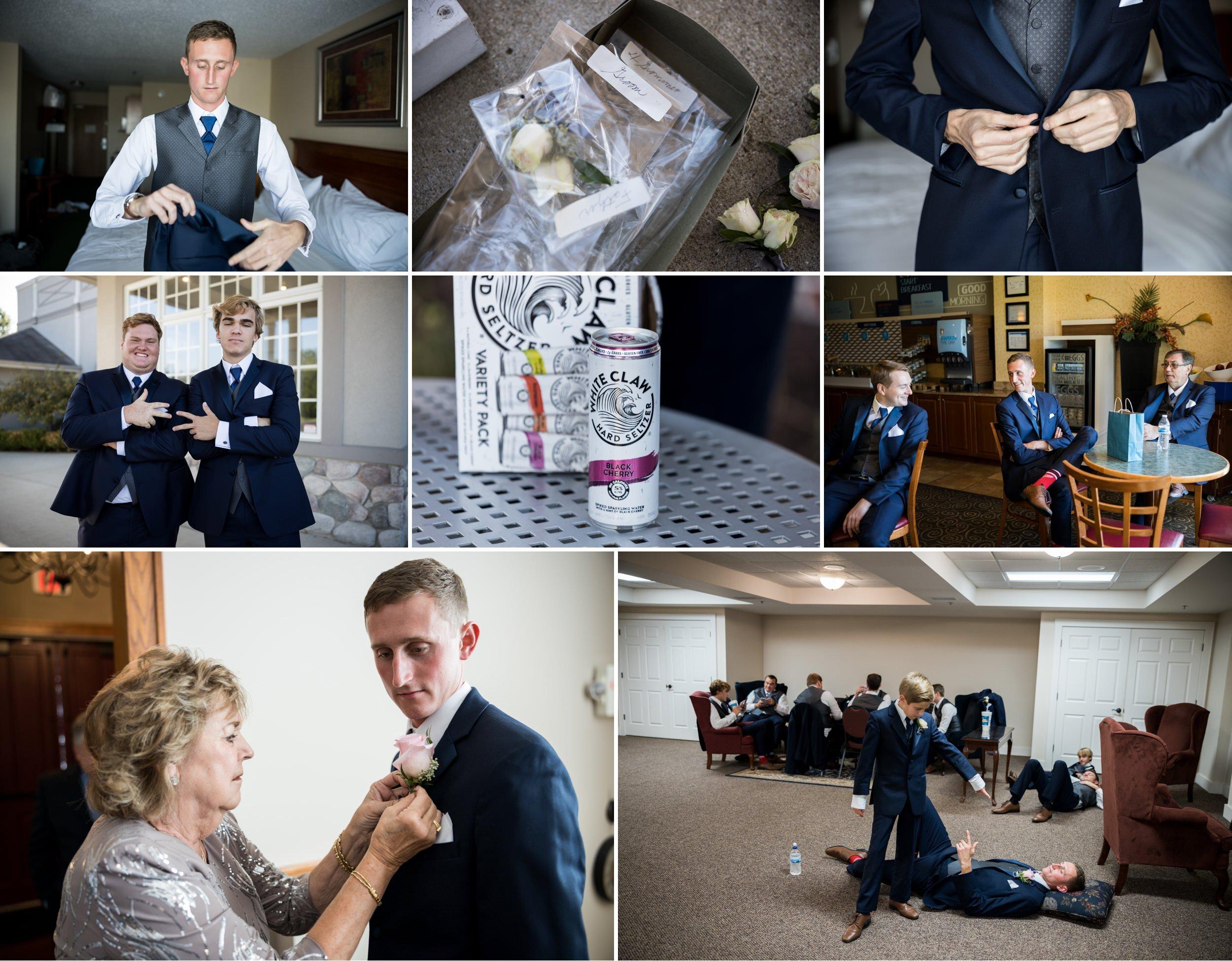 Groomsmen wedding day prep at Aberdeen Manor.