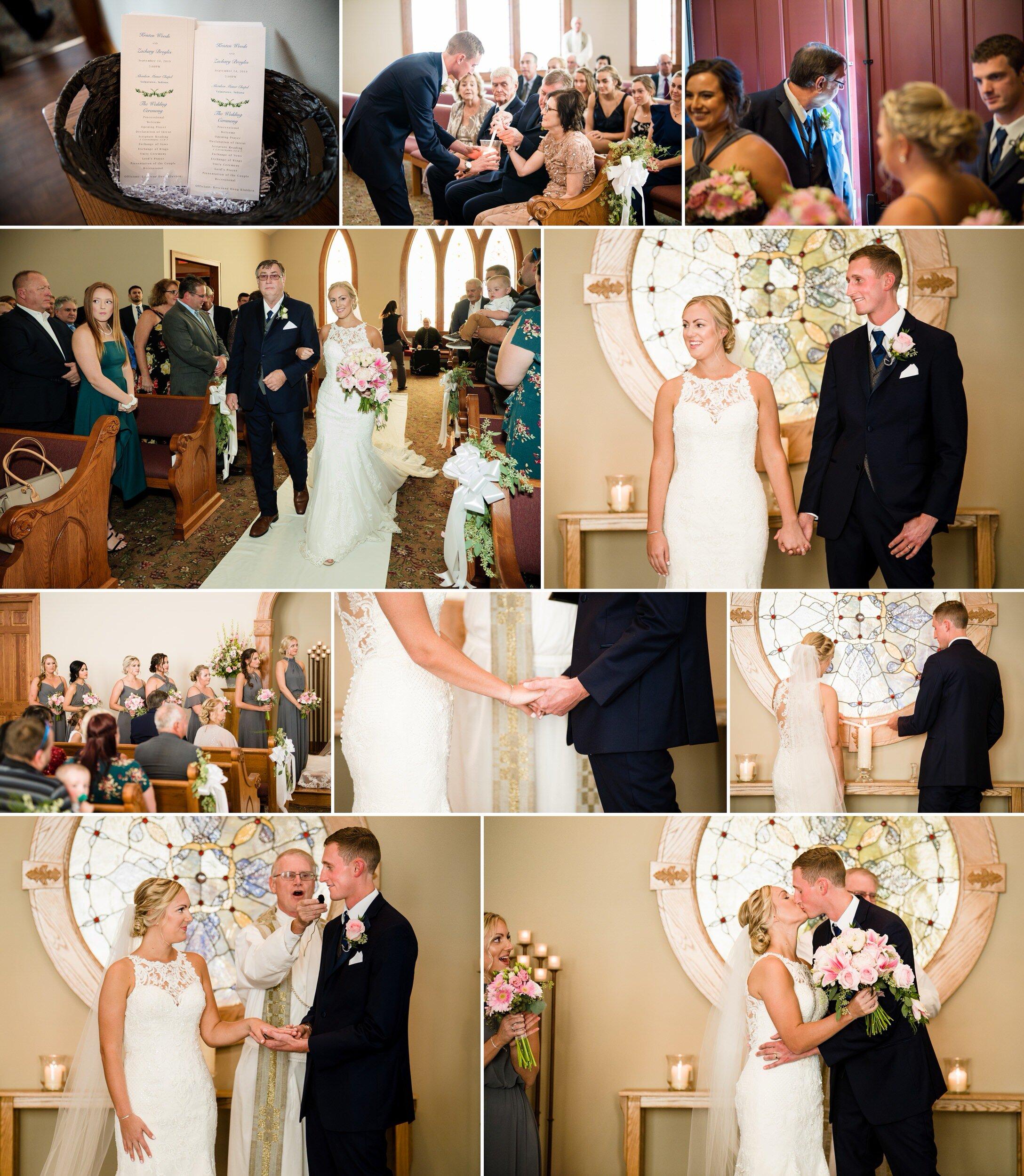 A September wedding ceremony at Aberdeen Chapel.
