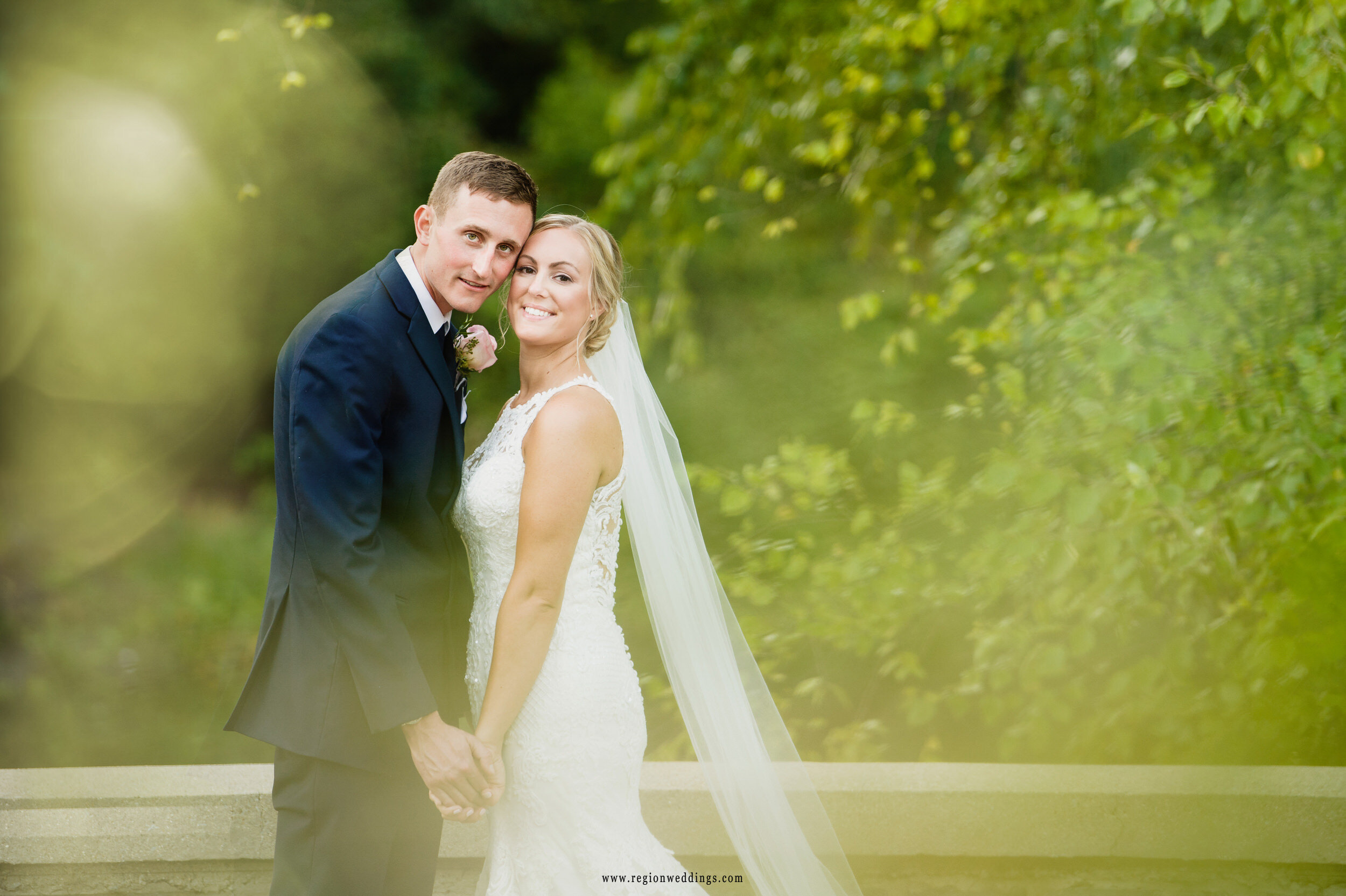A portrait of the bride and groom at their September wedding at Aberdeen Manor.