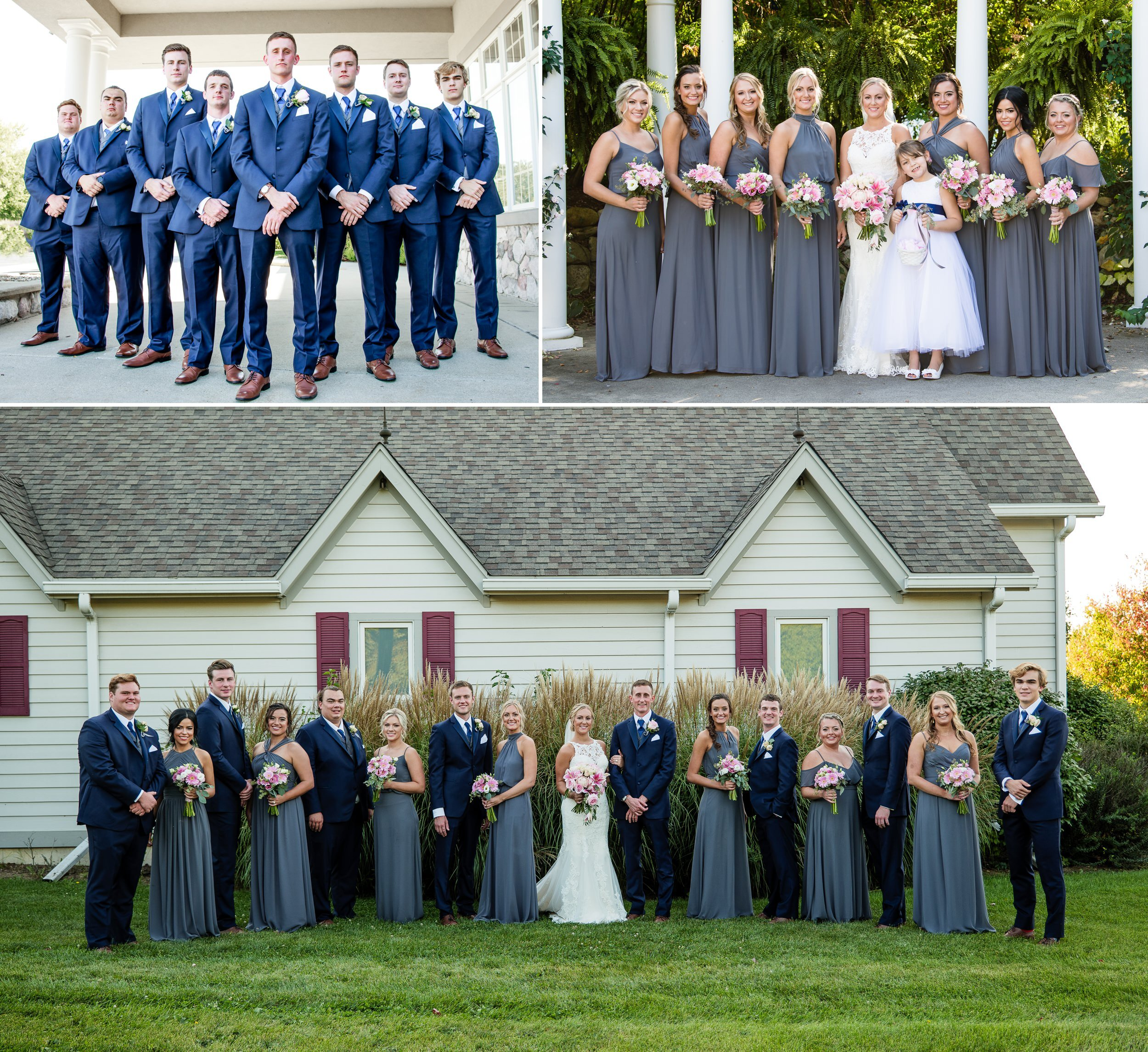 Wedding party group photos at Aberdeen Manor.