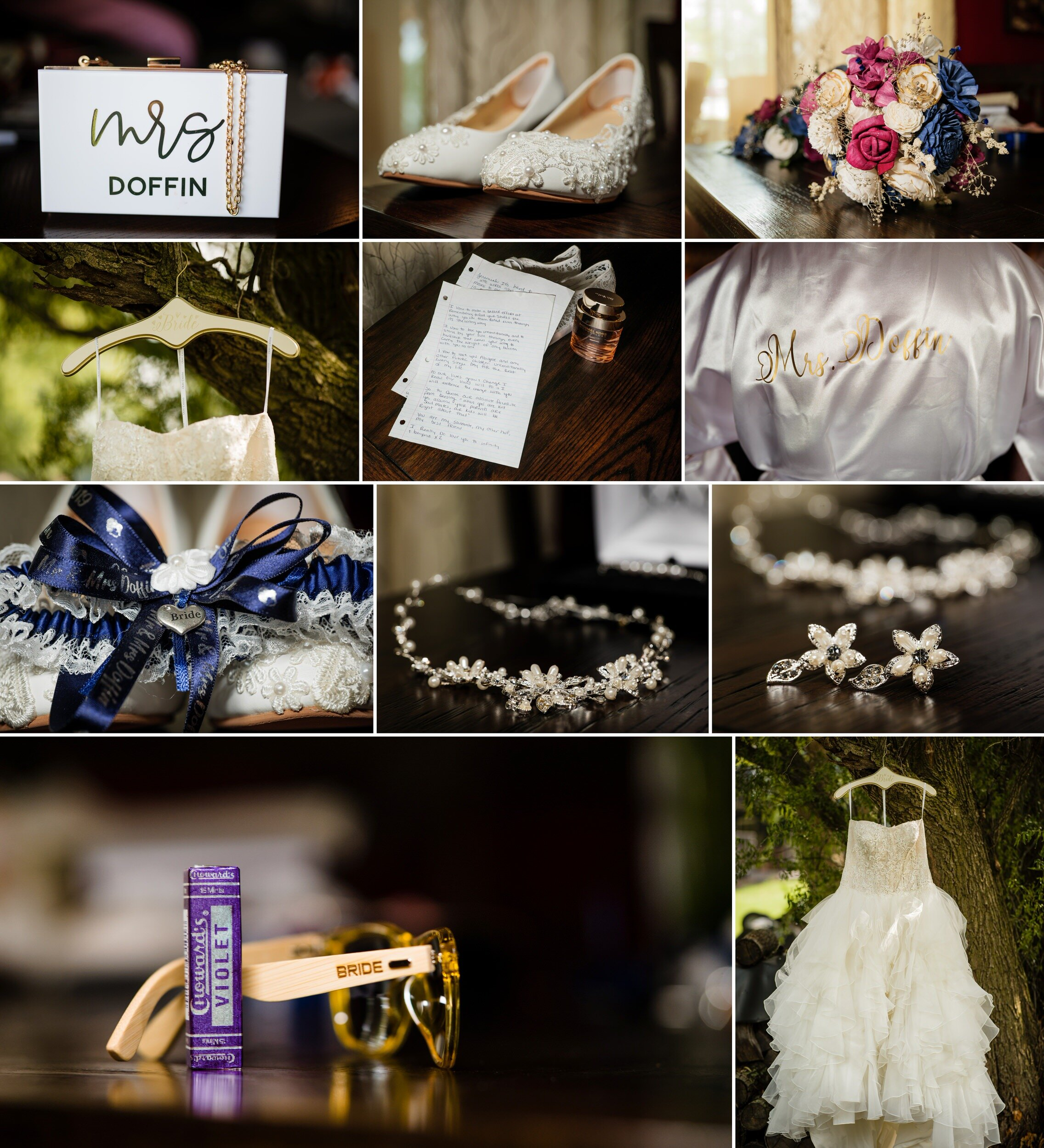 Bridal details for a wedding at Avalon Manor.