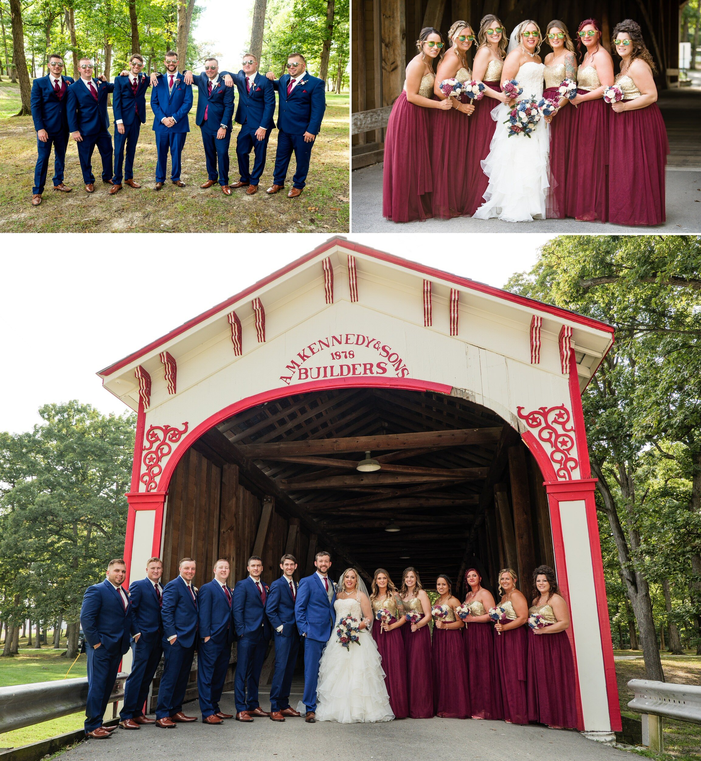 Wedding party group photos at the old covered bridge at Lake County Fairgrounds.