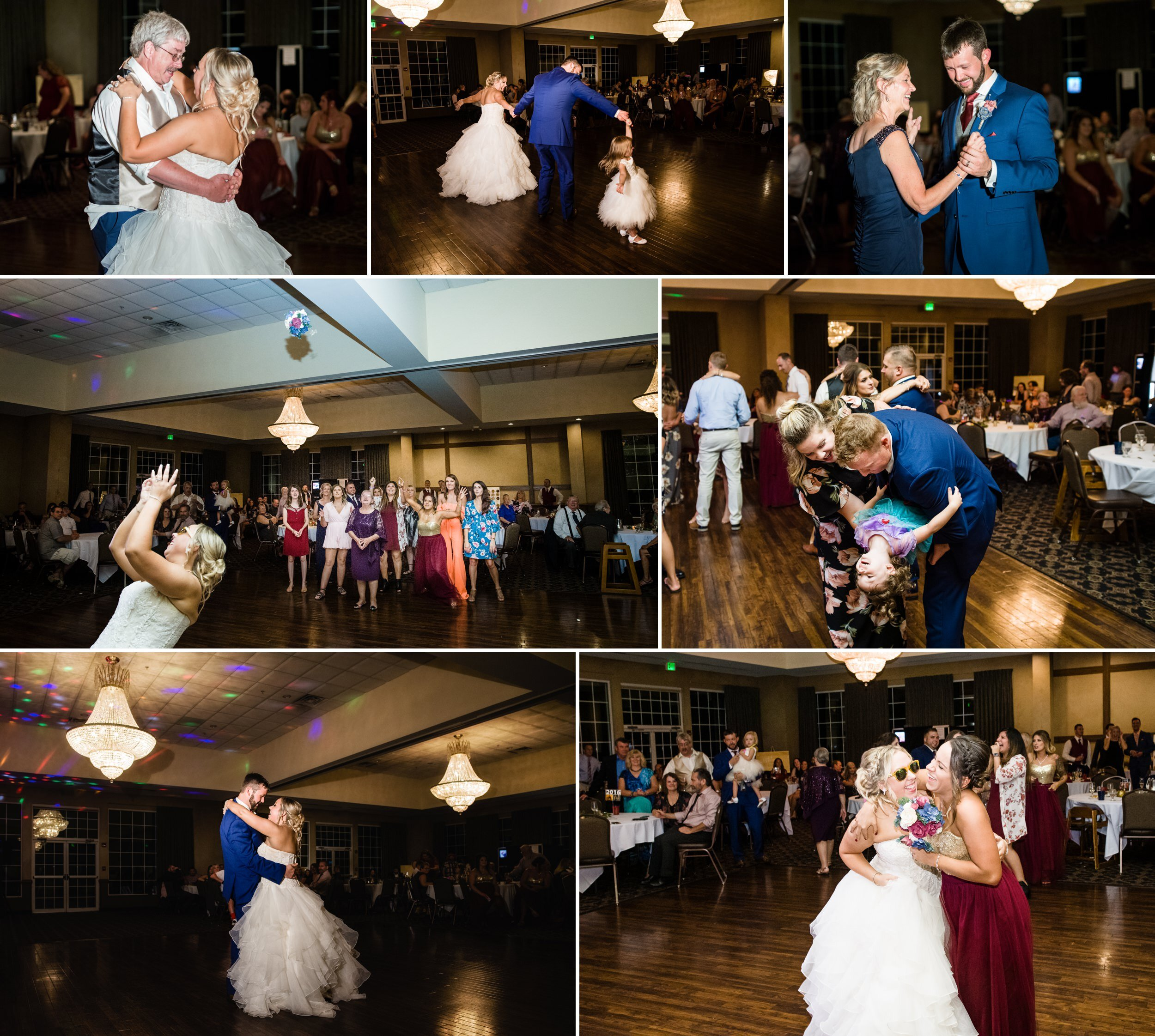Dance floor fun during a wedding reception at Avalon Manor.