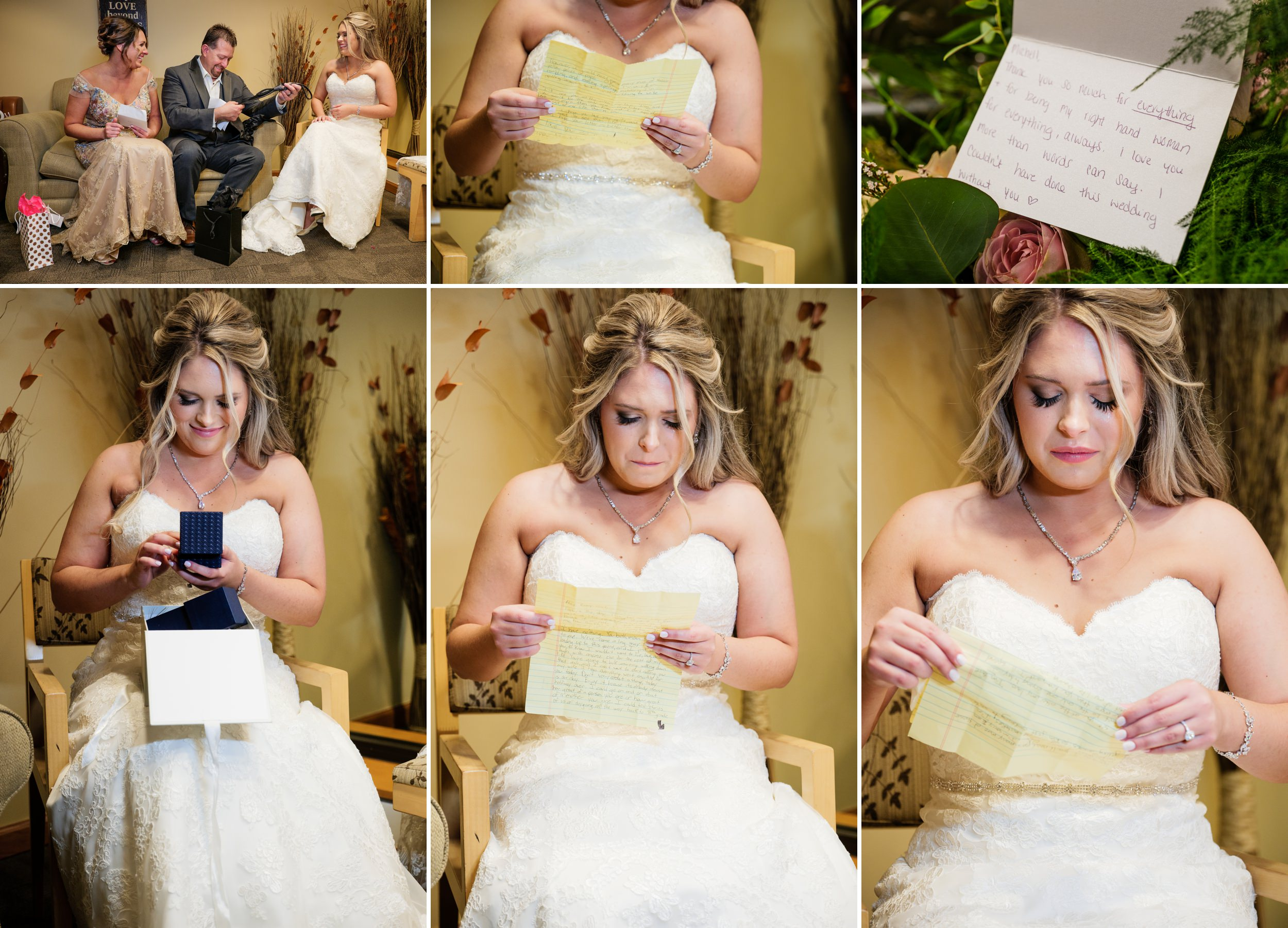 Gifts, letters of love and happy tears on wedding day at Centennial Park.