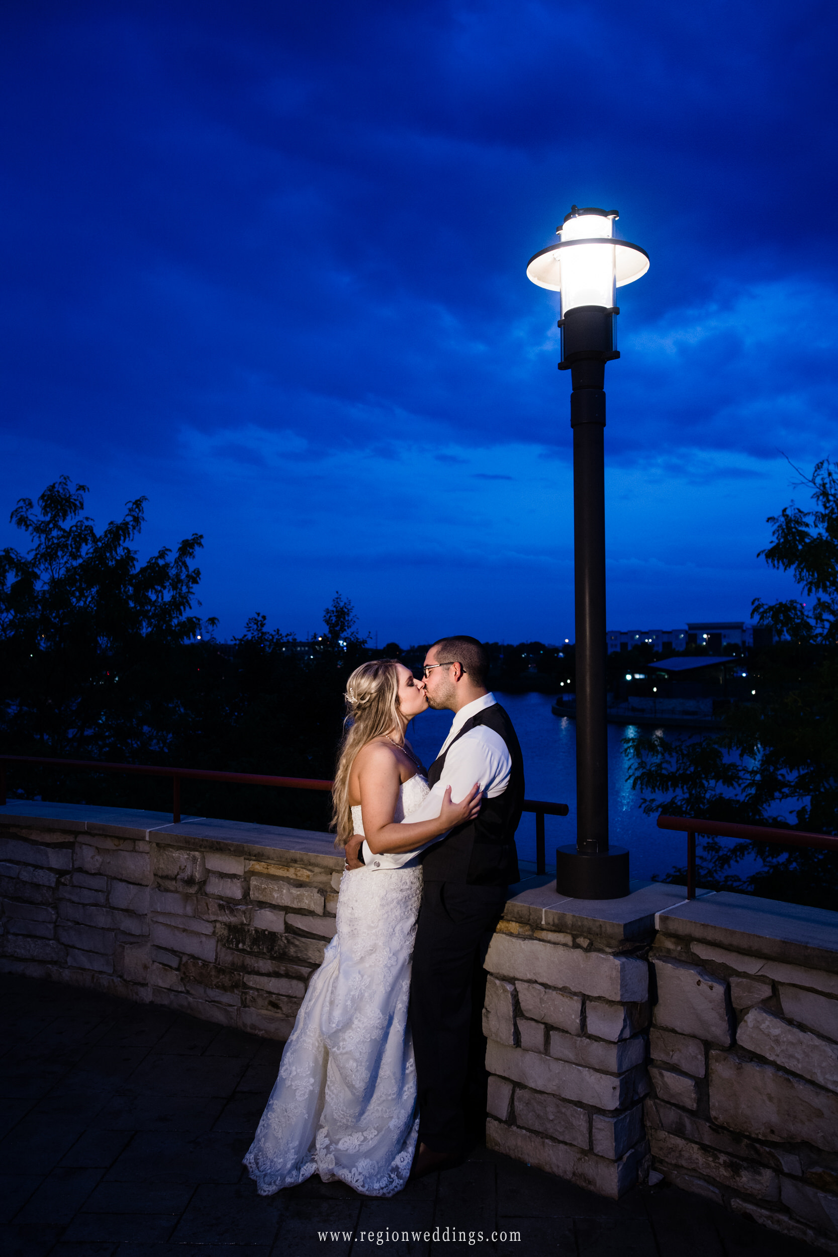 A night time wedding photo at Centennial Park in Munster, Indiana.