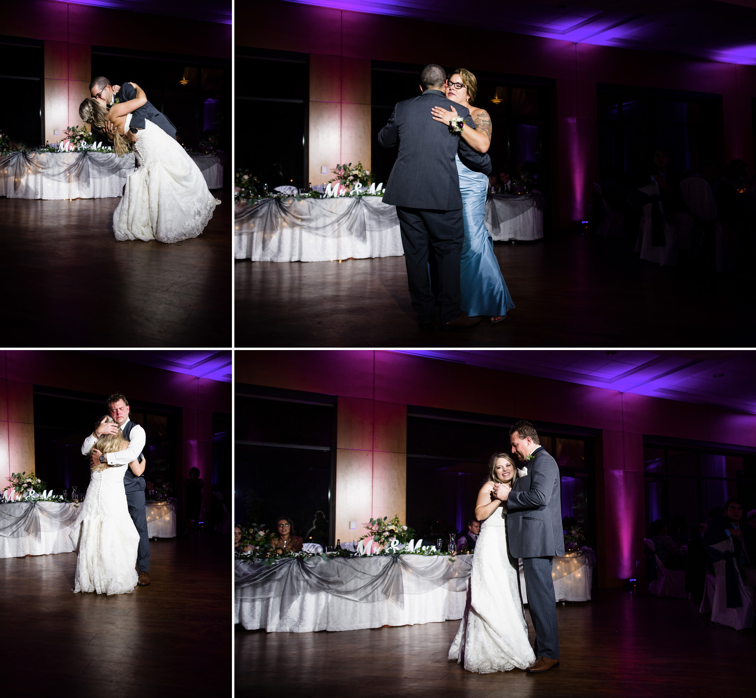 First dances with purple uplighting.