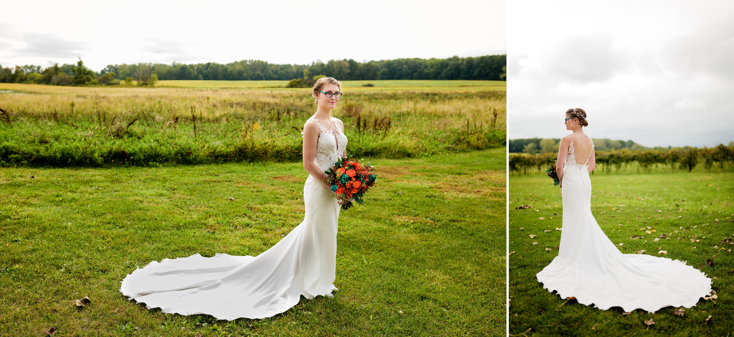 Solo portraits of the bride in her dress with Indiana farmland as the background.