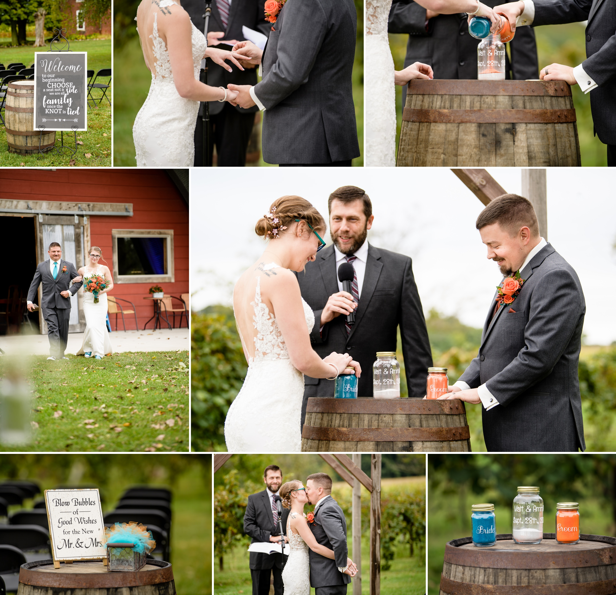 Outdoor Fall wedding amongst the grape orchards of Four Corners Winery.