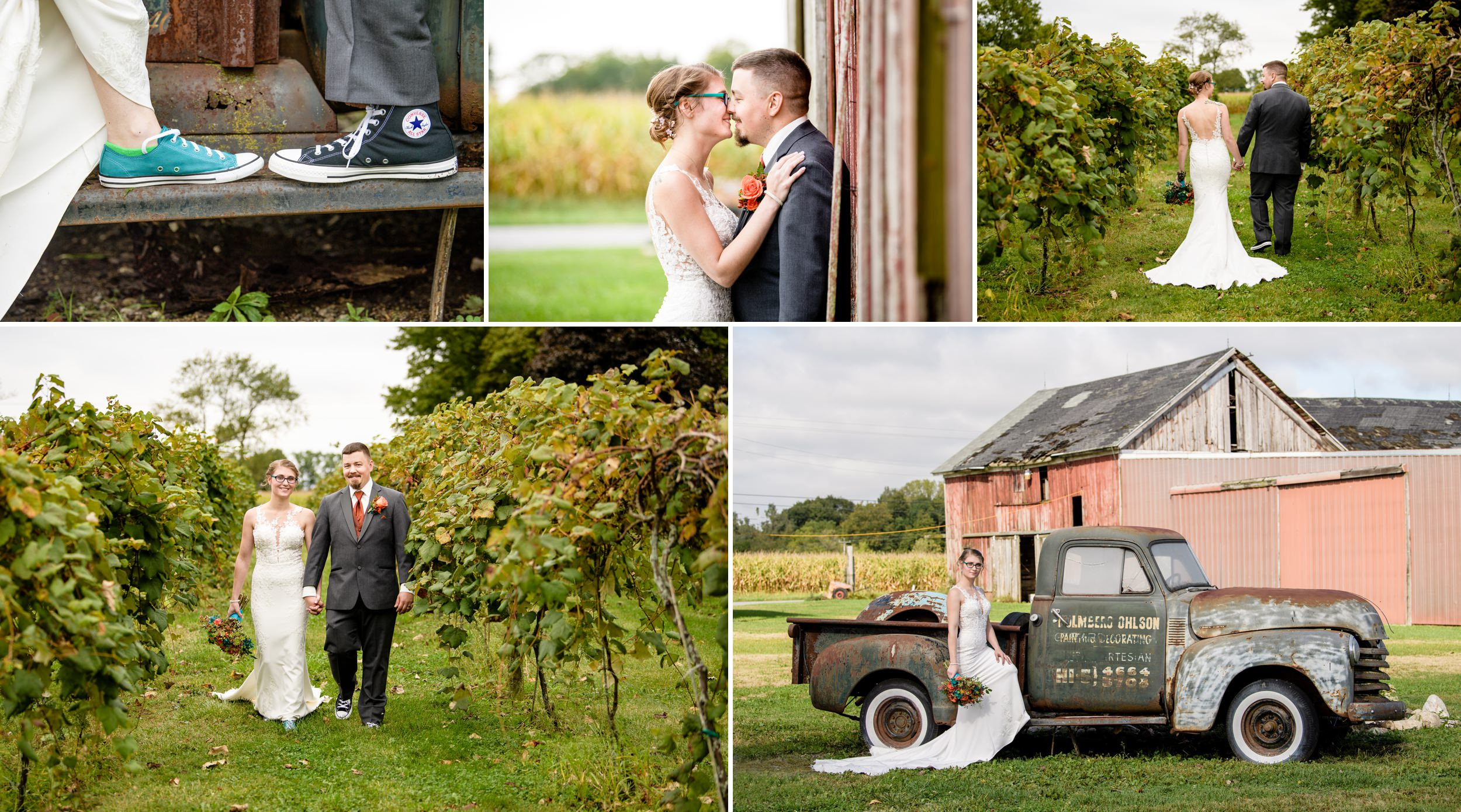 Fall wedding photos at Four Corners Winery in Valparaiso.