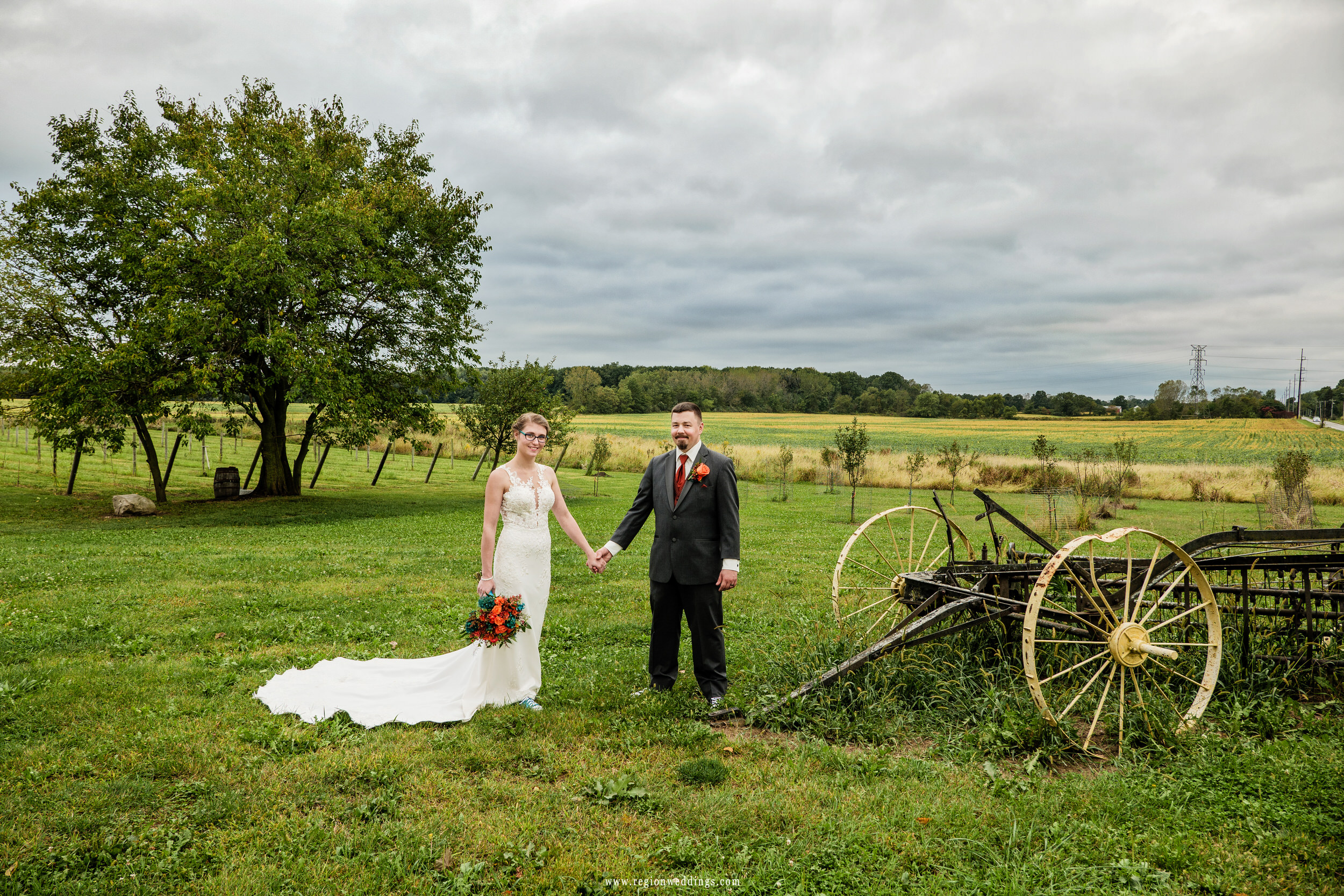 Indiana farmland surrounds the newly married couple.