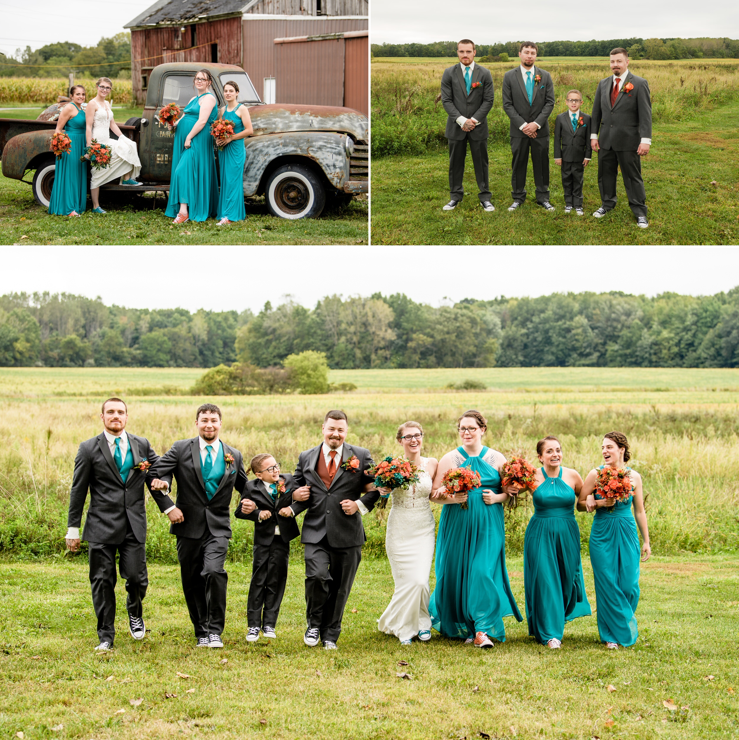 Wedding party photos on the grounds of the winery in Valparaiso, Indiana.