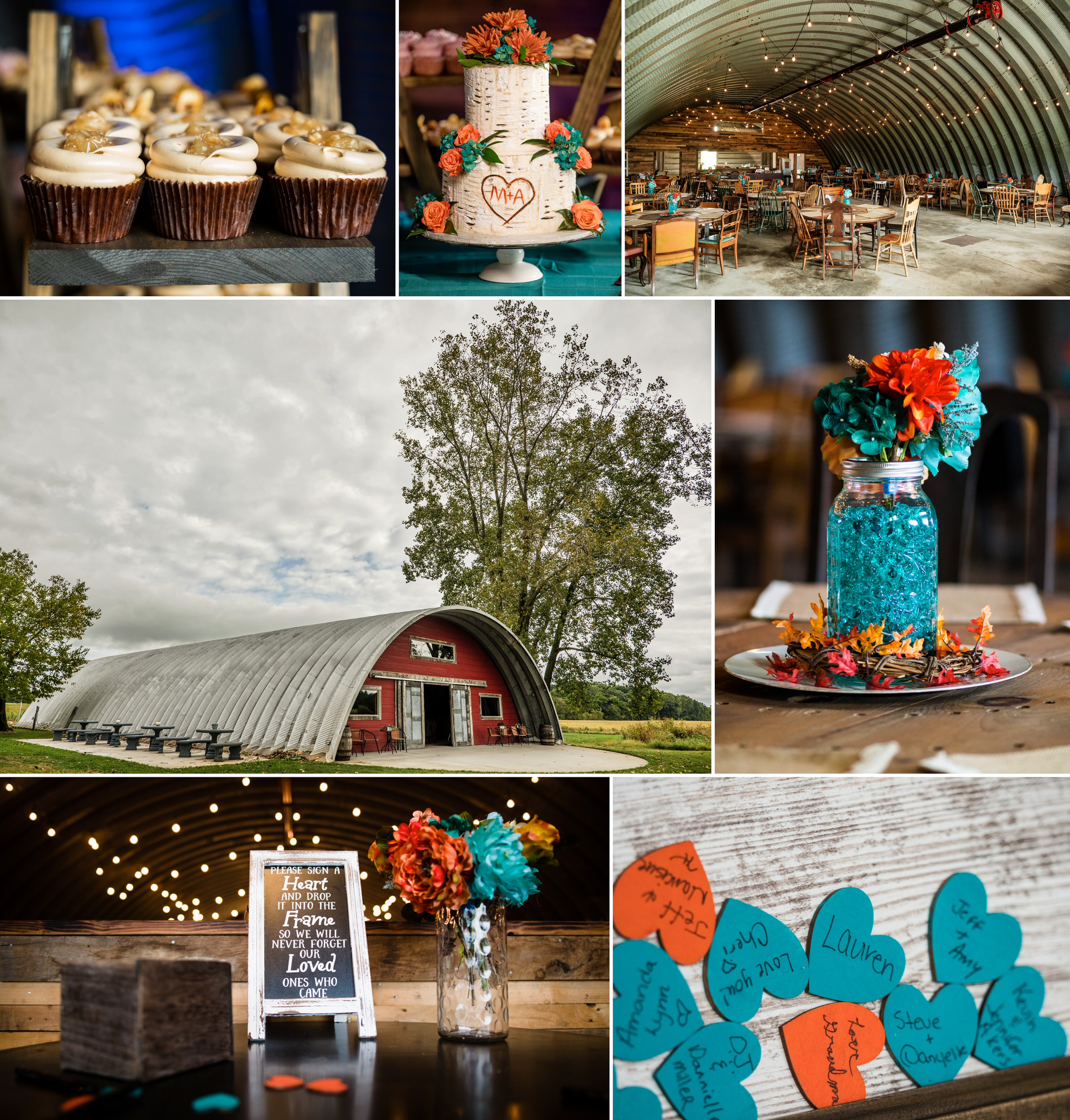 Fall wedding decorations at Four Corners Winery.