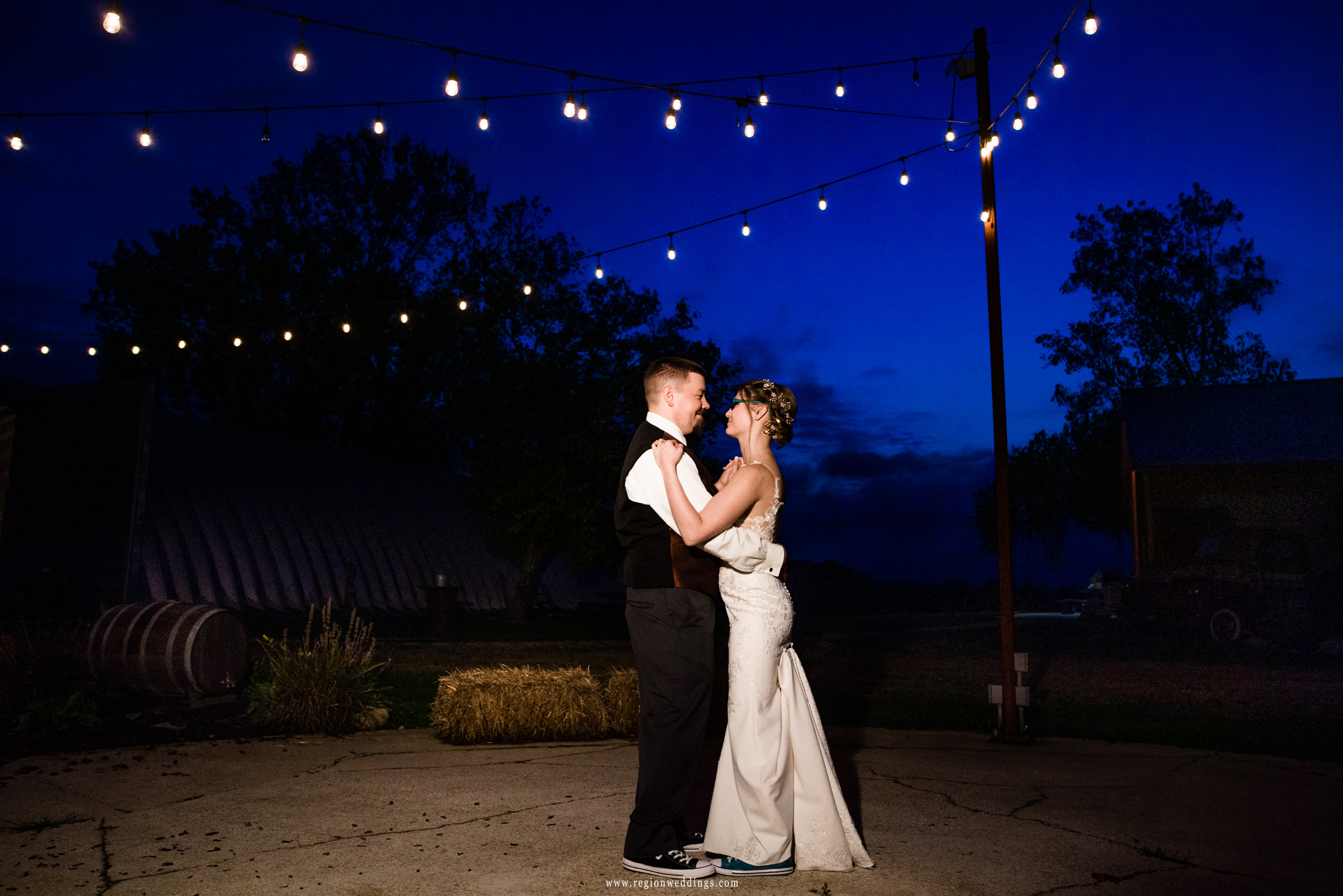 Bride and groom dance the night away at Four Corners Winery.