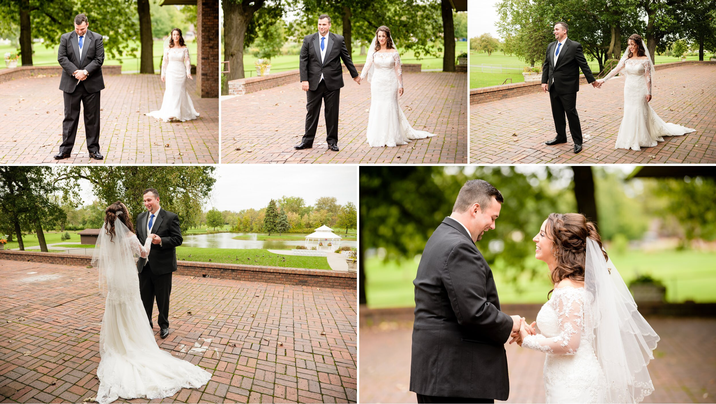 First look for the bride and groom at Wicker Park in Highland, Indiana.