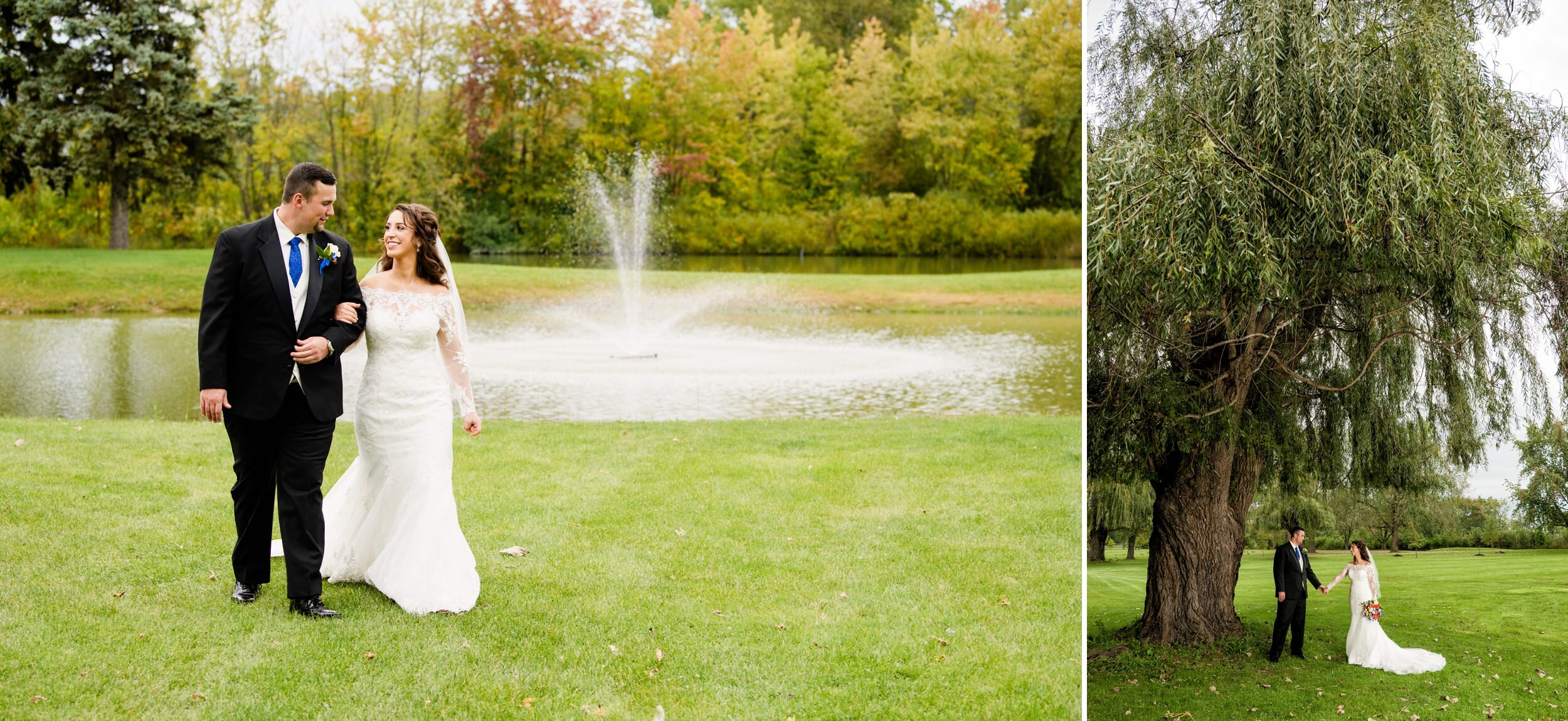 The lovely fountain and tall will trees of Wicker Park at a Fall wedding.